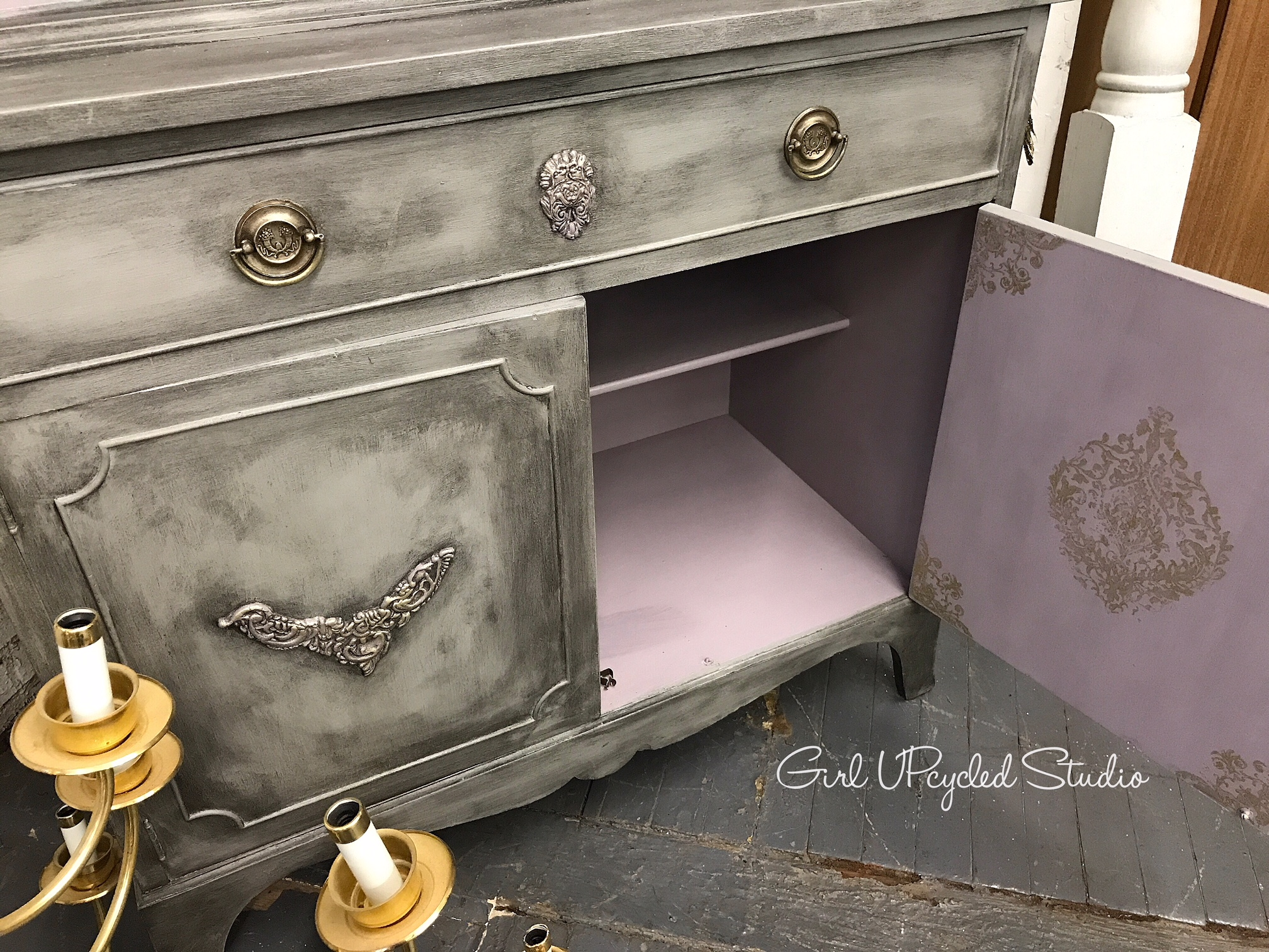 Beautiful customized detailing brings out the glamour in this piece of painted furniture