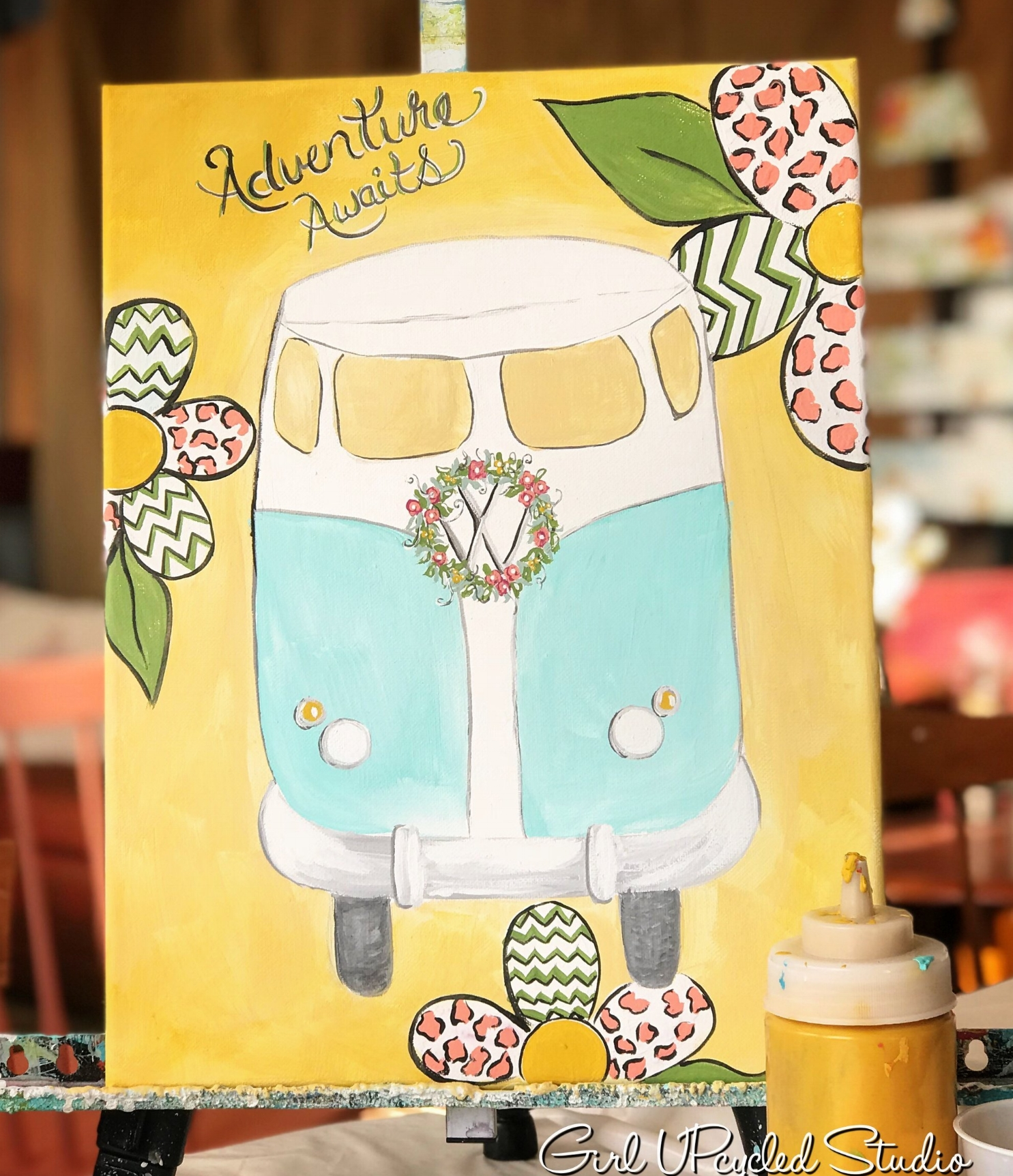 VW bus on canvas