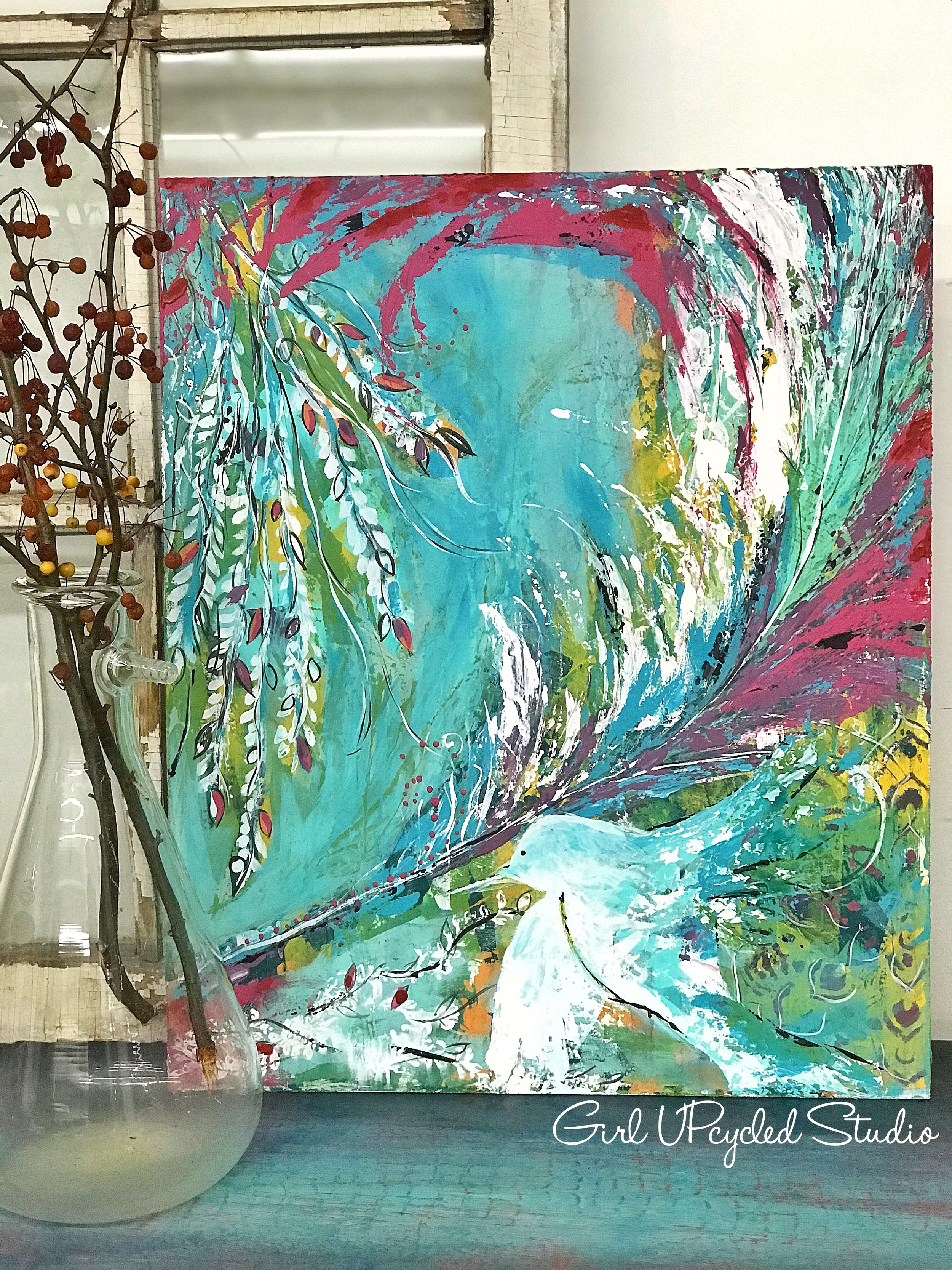 Bird in flight - creating impulse paintings can be quite liberating and freeing
