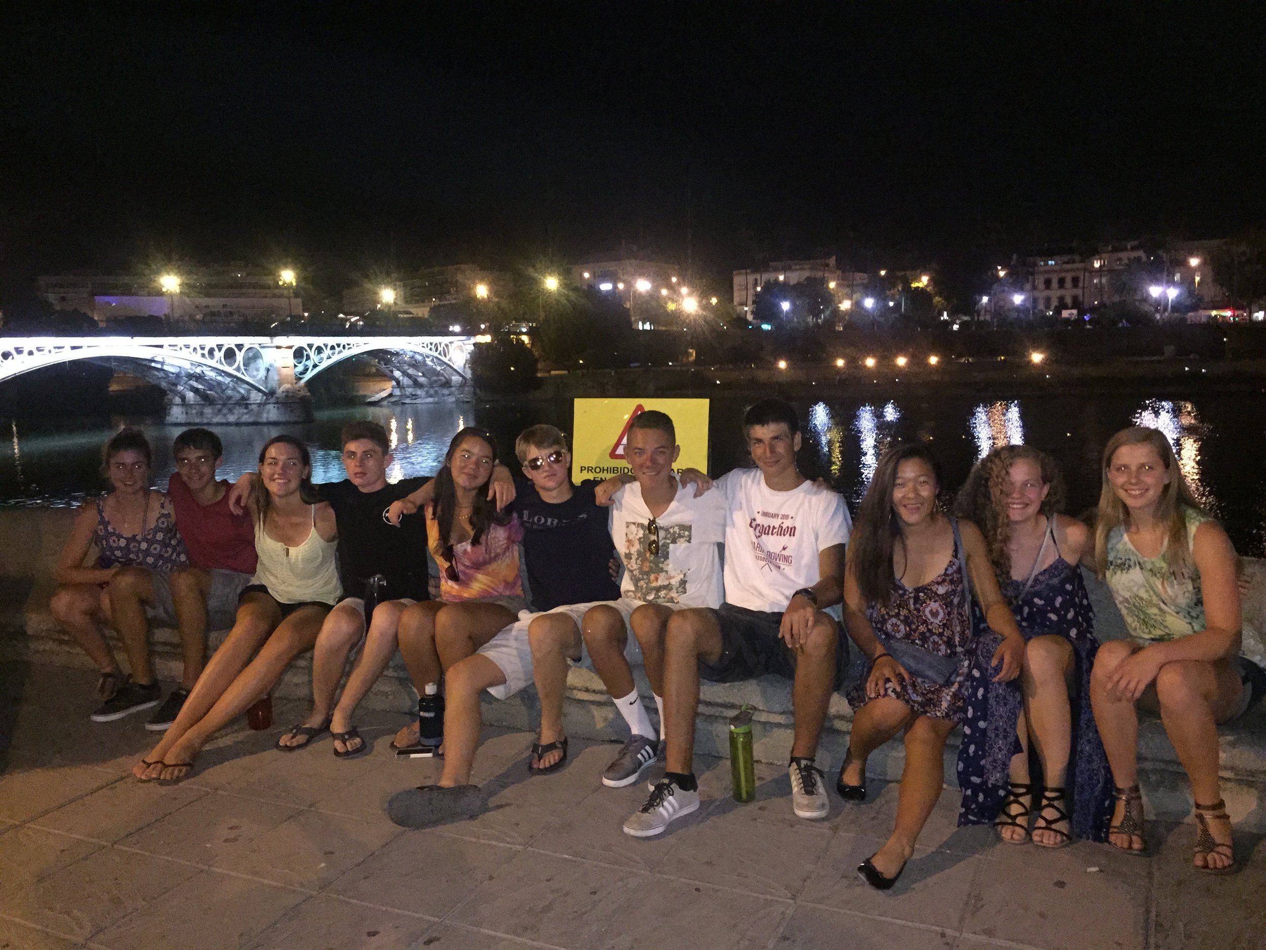 Language Classes include outings to see the sights of Sevilla at night