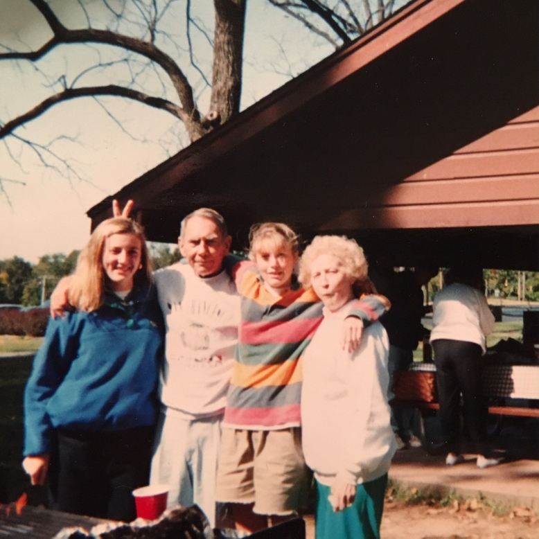 Celebrating a family reunion at Highland Park.(Please excuse the boy-like clothes I'm wearing and the face my Nana is making.)