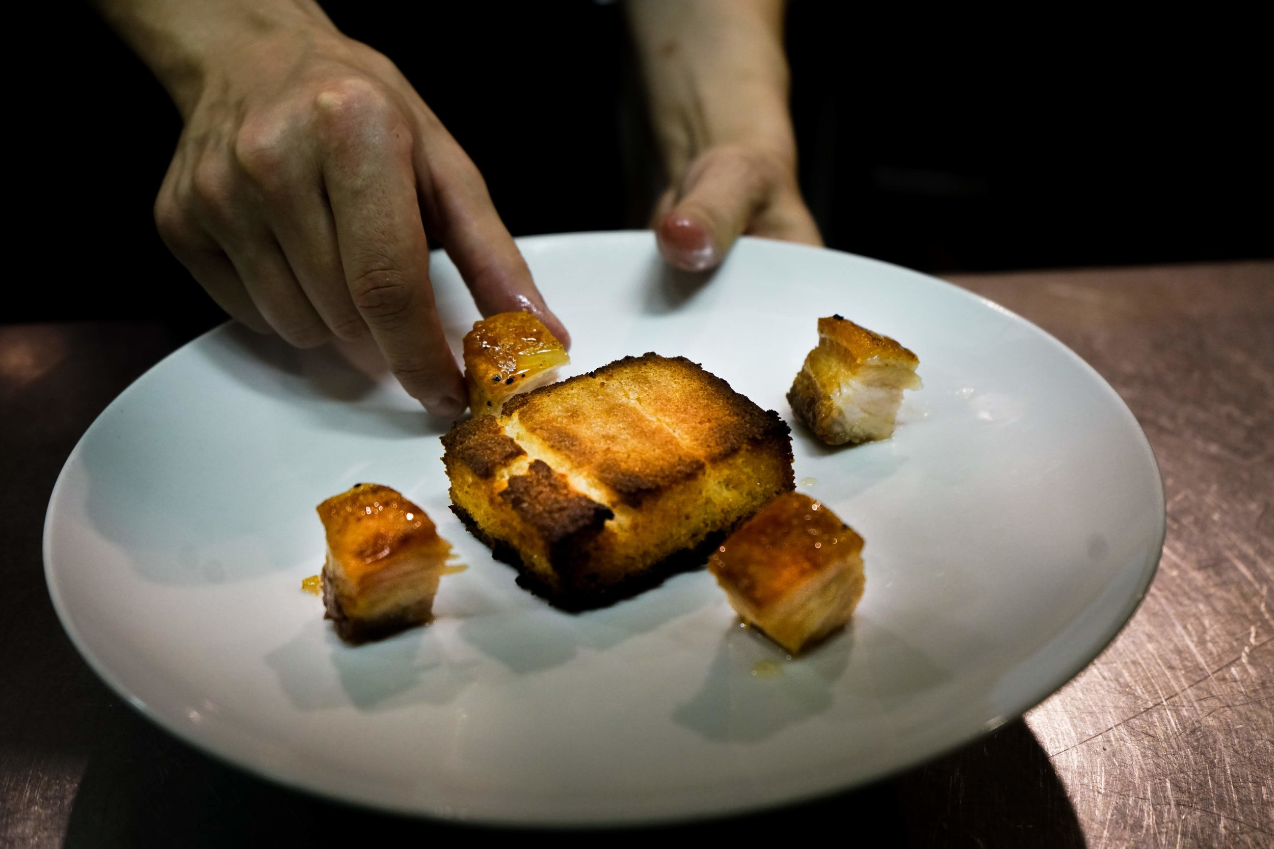 House Made Cornbread with Pimento Cheese Butter & Honey Glazed Pork Belly
