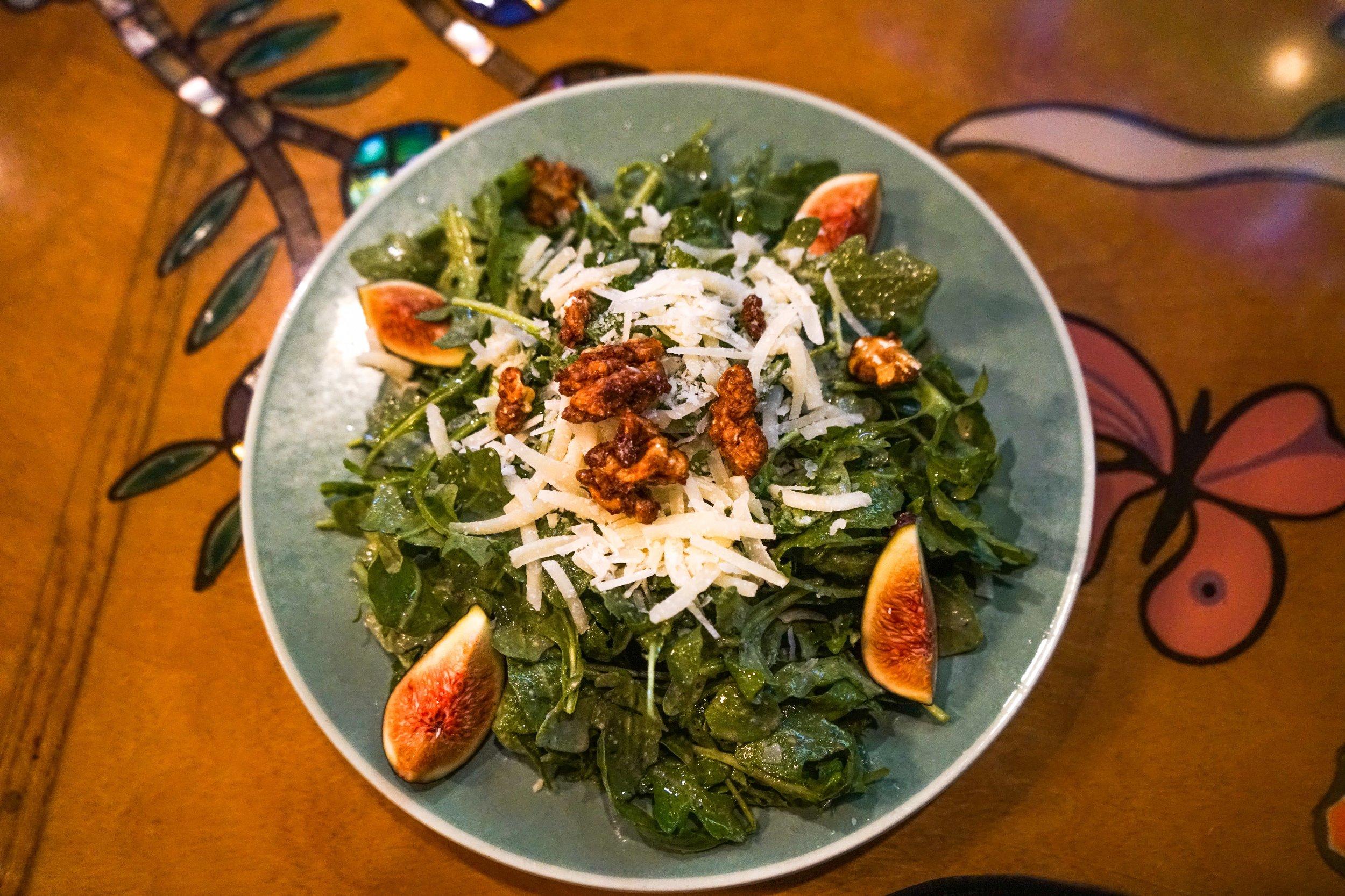 Feature Salad: Arugula Salad with Fresh Figs, Candied Citrus Walnuts, and Pecorino in a Walnut Vinaigrette
