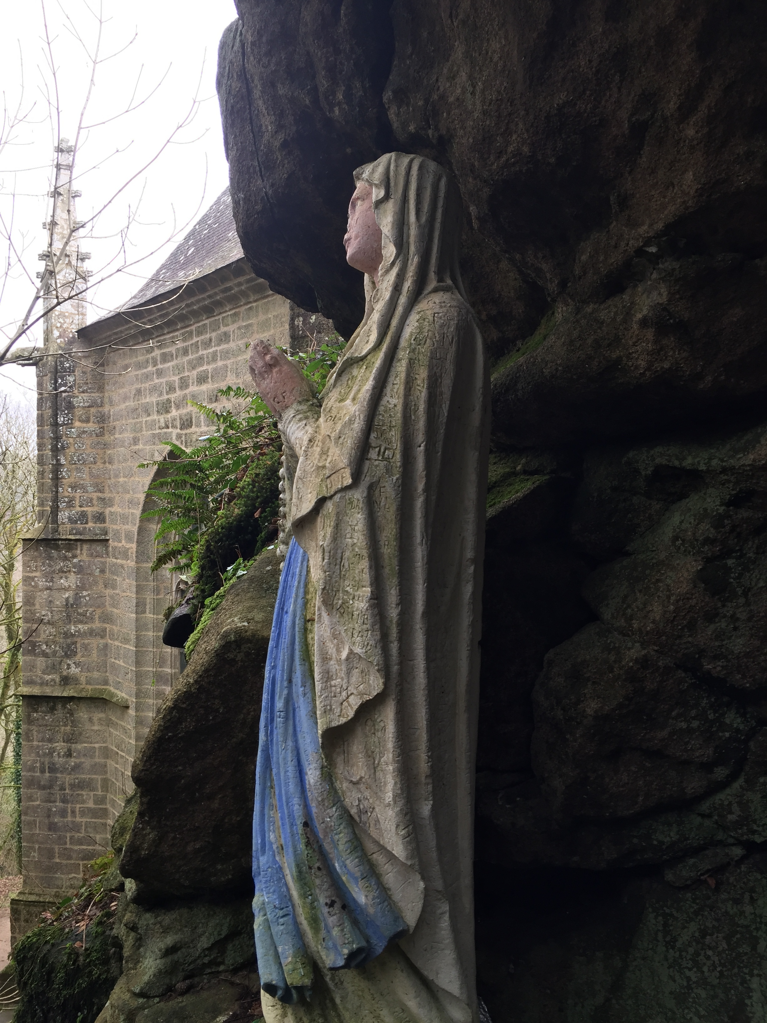 Statue of Mary in the boulders