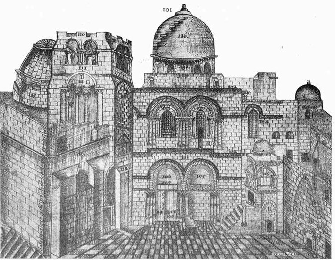 1728 engraving of the immovable Ladder Church of the Holy Sepulcher