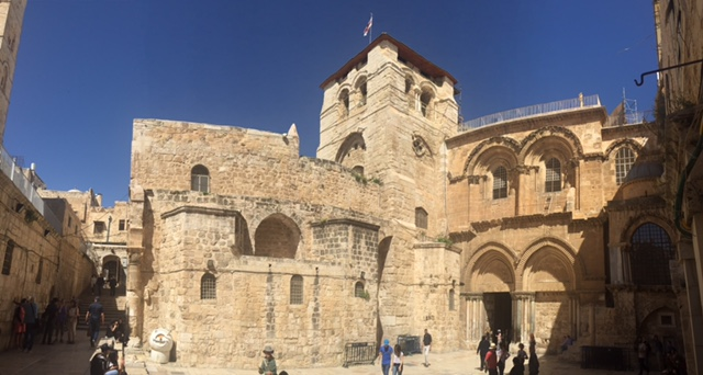 Pano of the Church of the Holy Sepulcher: notice the immovable ladder?