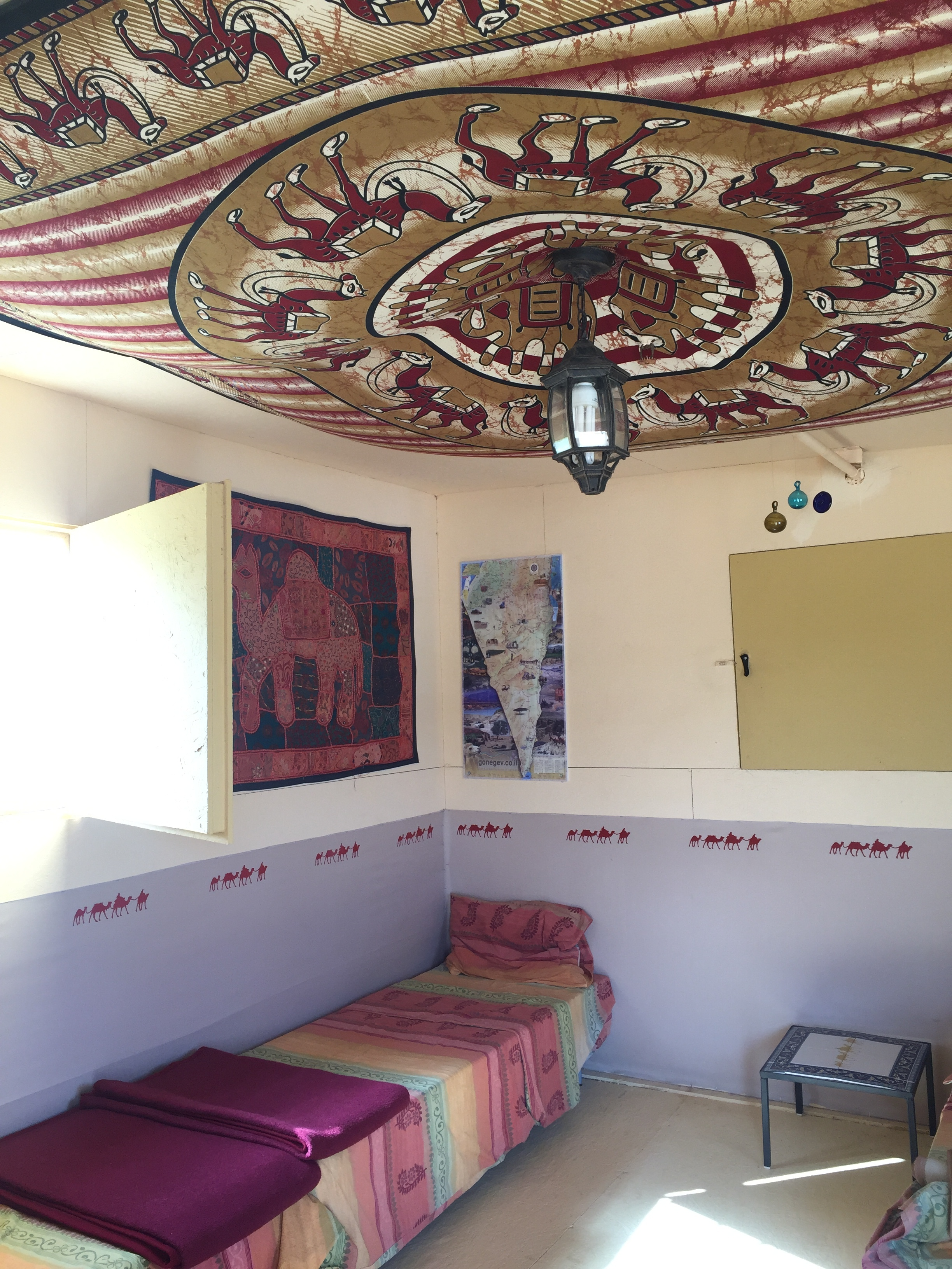 Inside our hut at the Negev Camel Ranch, Israel