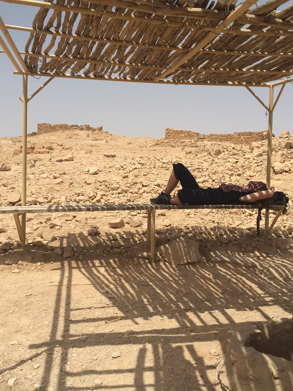 Jill taking a break at Masada, Israel