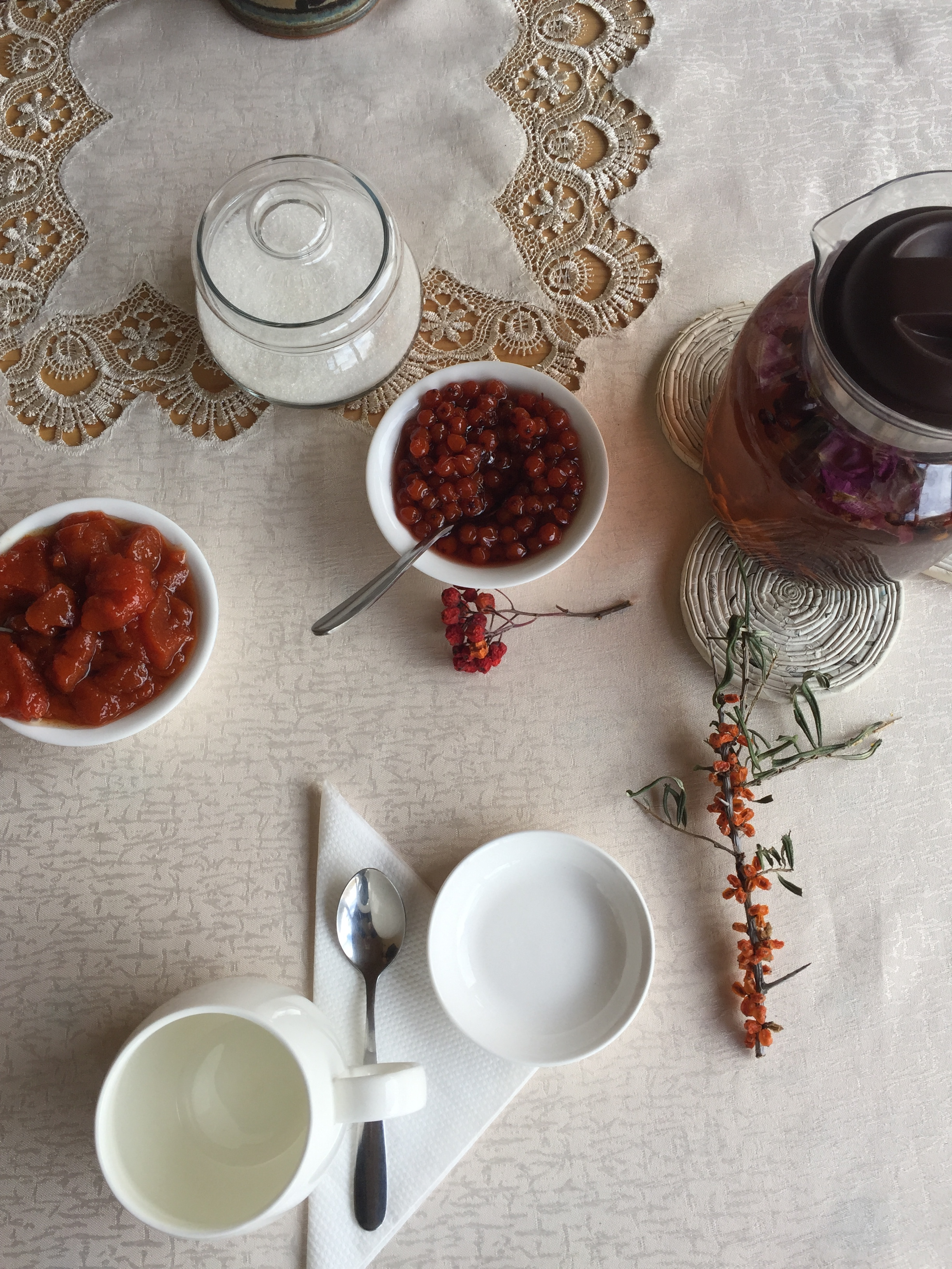 Assorted teas and preserves