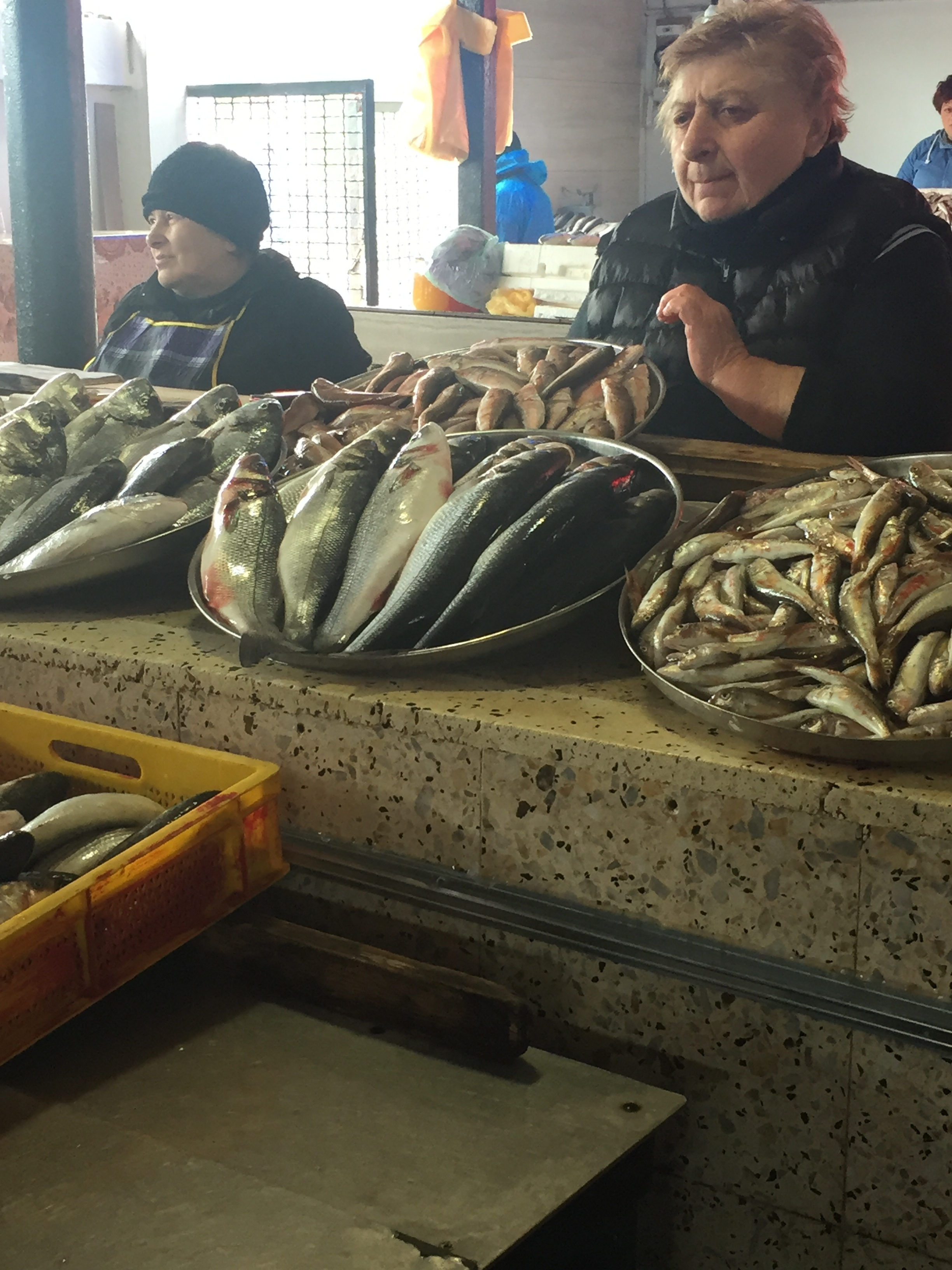 Selecting our fish from the market