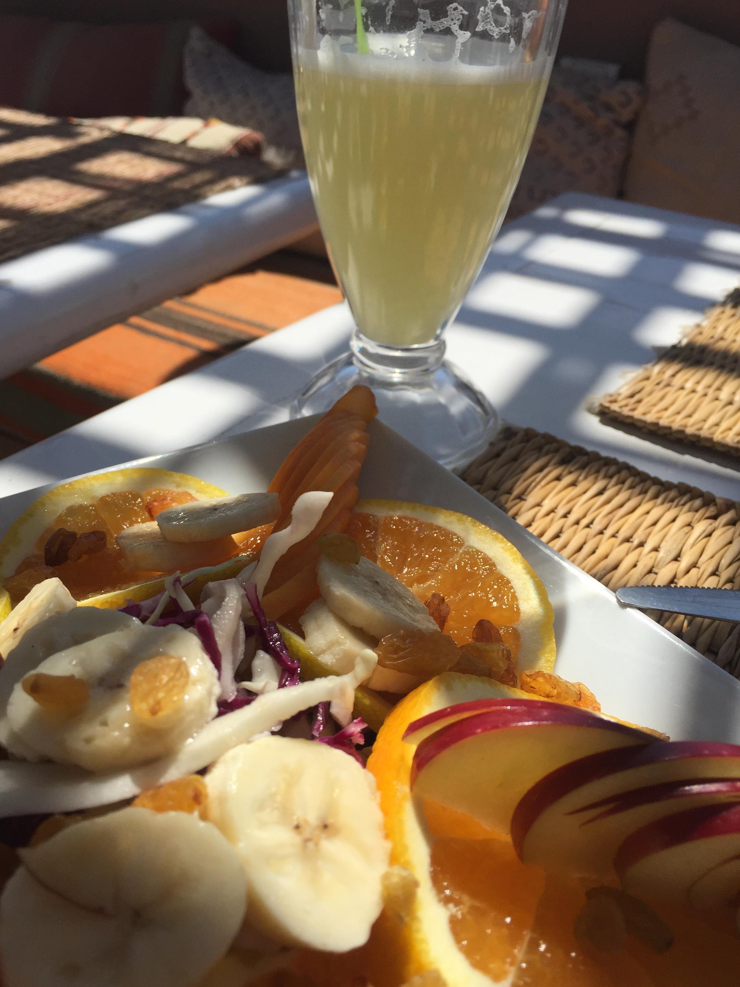 Jill's fruit salad in dappled terrace light