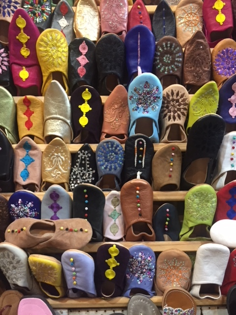 A common site in the medina: rows of shoes