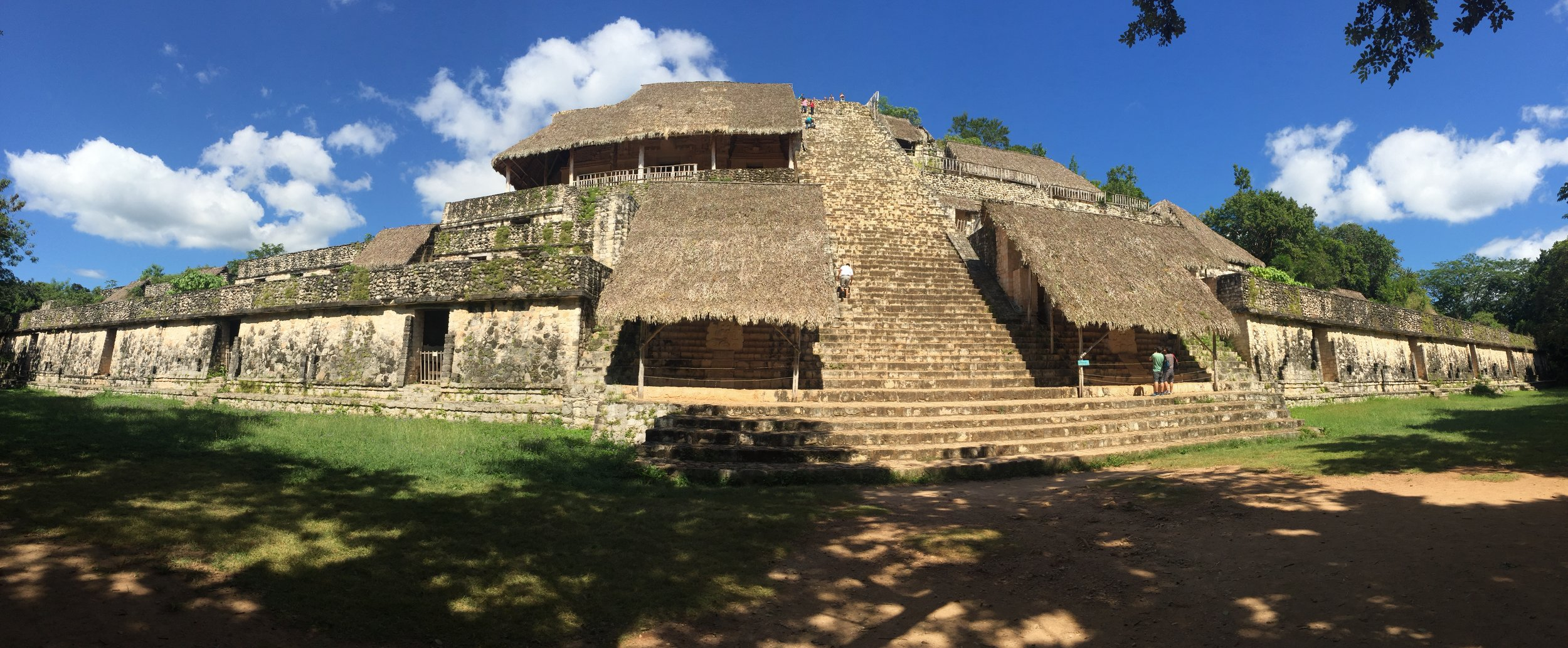 """The main pyramid of Ek'Balam. The roofed area 3/4 of the way up is where the """"teeth"""" are located"""