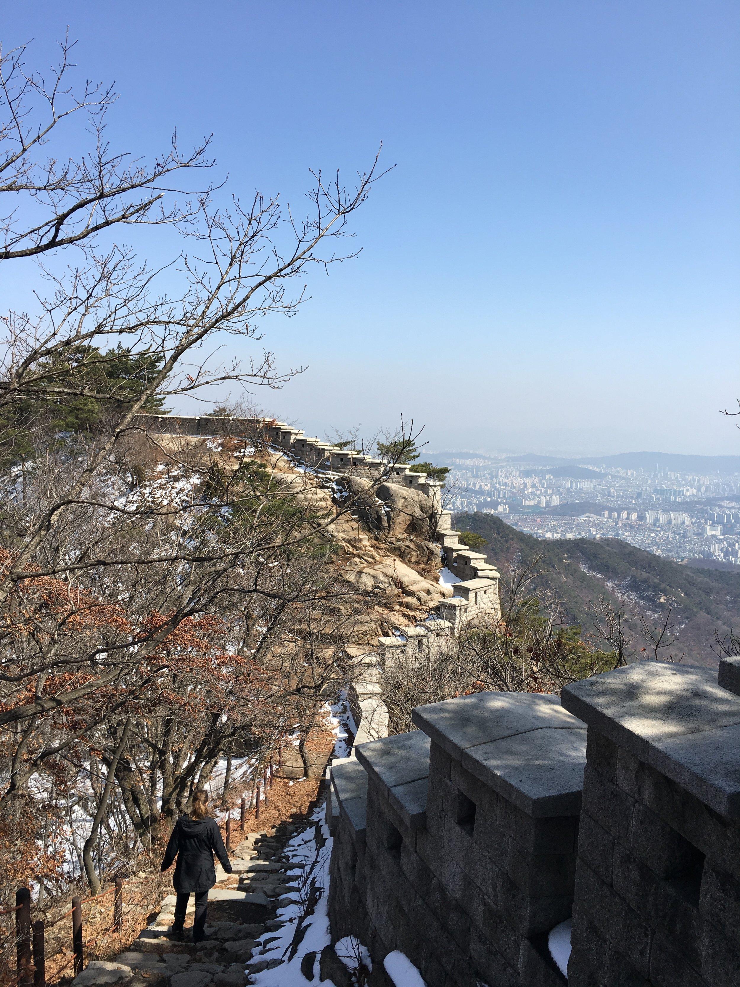 Walking the Fortress wall bukhansan national park seoul korea