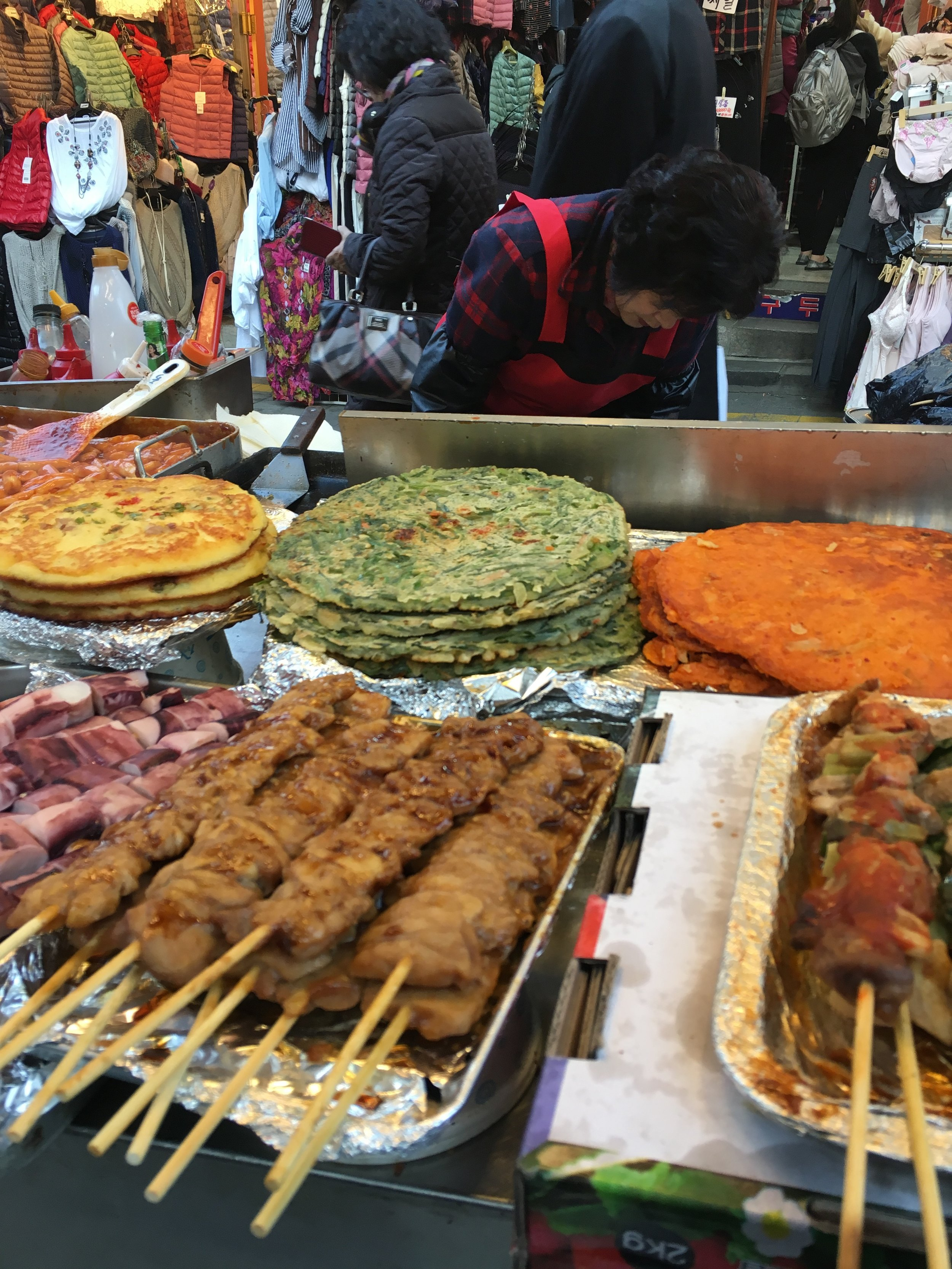 Korean Pancakes & Skewers