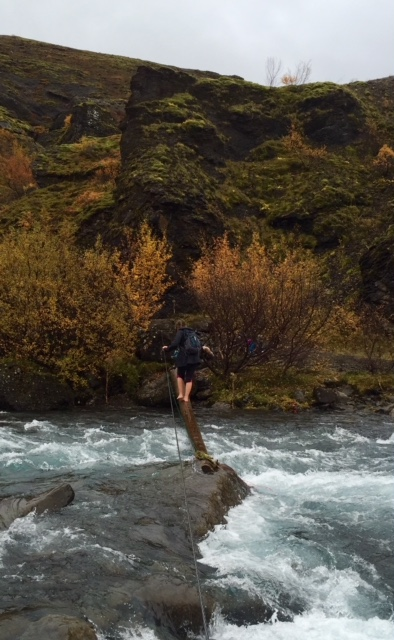 Jill's first crossing of the river at Glymur