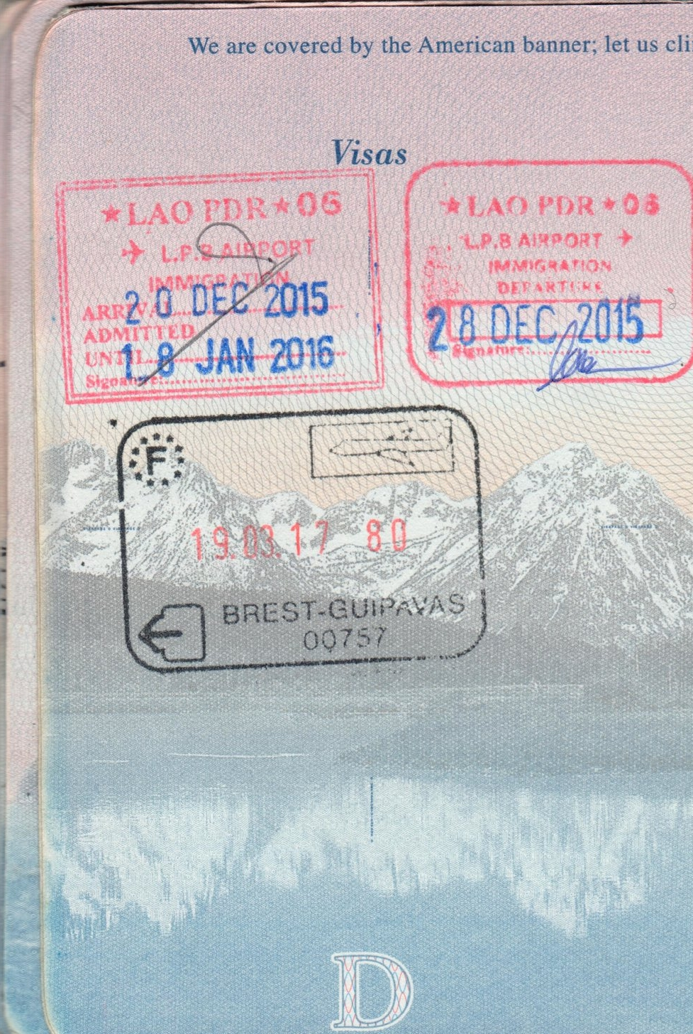 Laos & Brest, France Passport Stamps