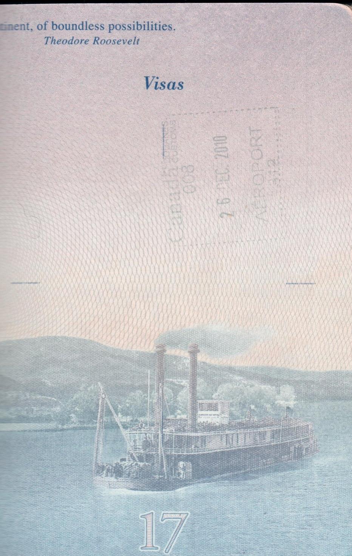 Faint Canada Passport Stamp