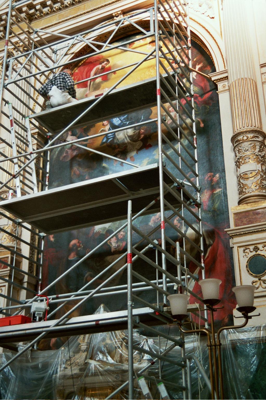 Altarbild »Mariahimmelfahrt« während Restaurierung