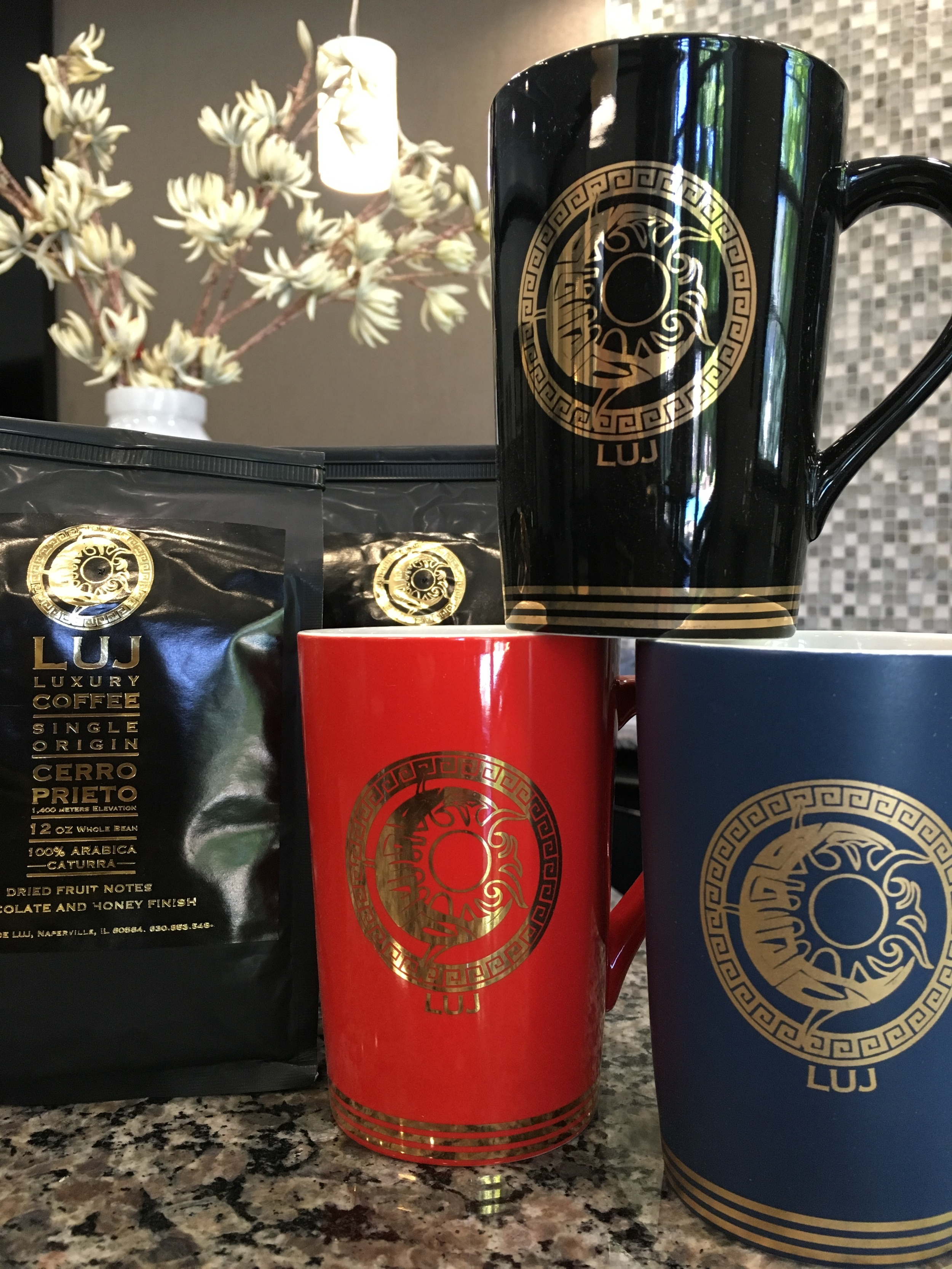 LUJ COFFEE MUGS iN BLACK (GLOSSY), RED (GLOSSY),WHITE (GLOSSY and BLUE (MATTE)