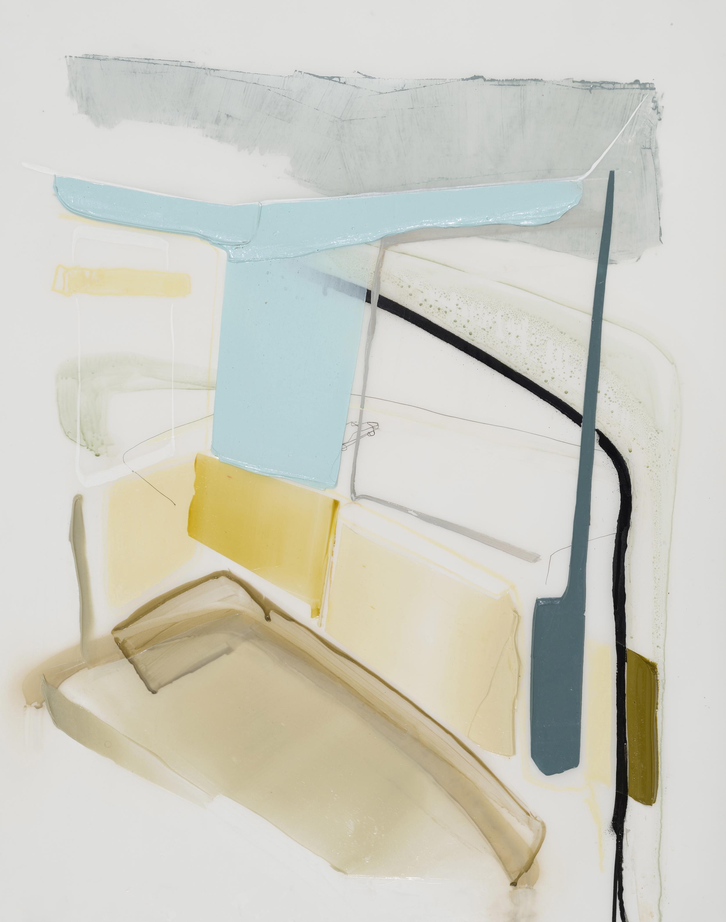 Chambre, 2016 acrylique et crayons sur Mylar     36'' x 27''