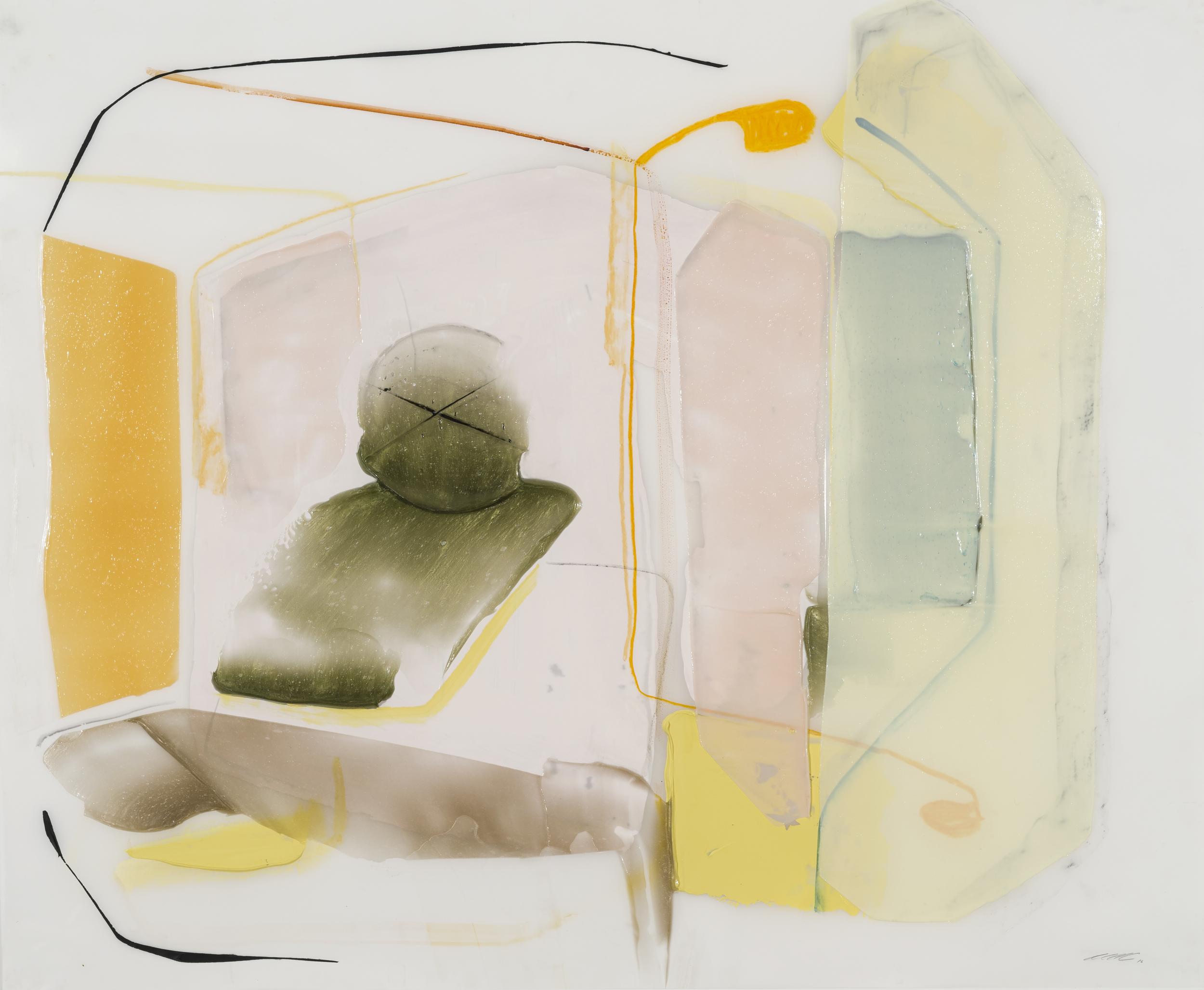 Attente, 2016, acrylique et crayons sur Mylar, 35'' x 42''