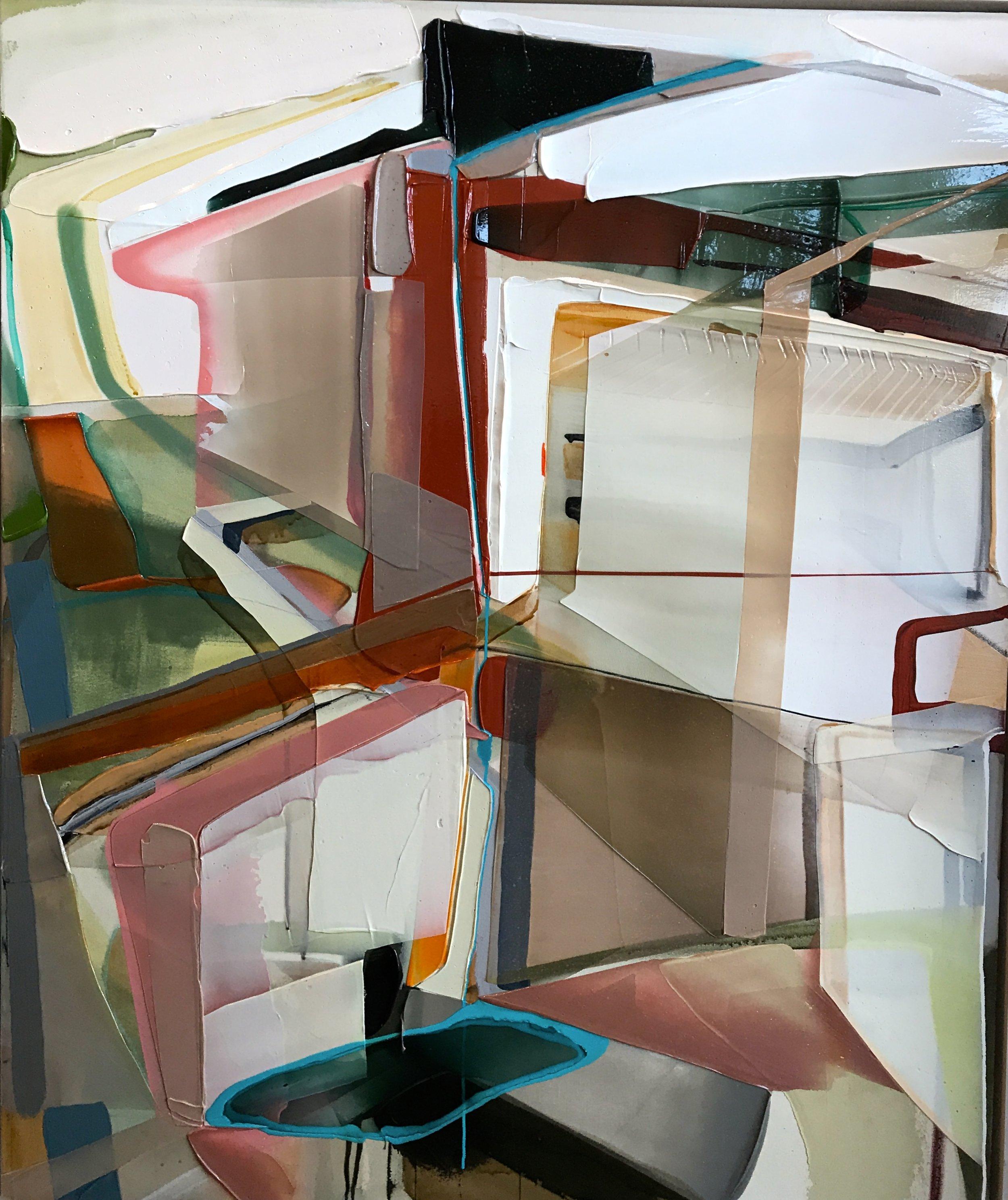 """Vertical Stress  2017 acrylique et aérosol sur canvas        50"""" x 60"""""""