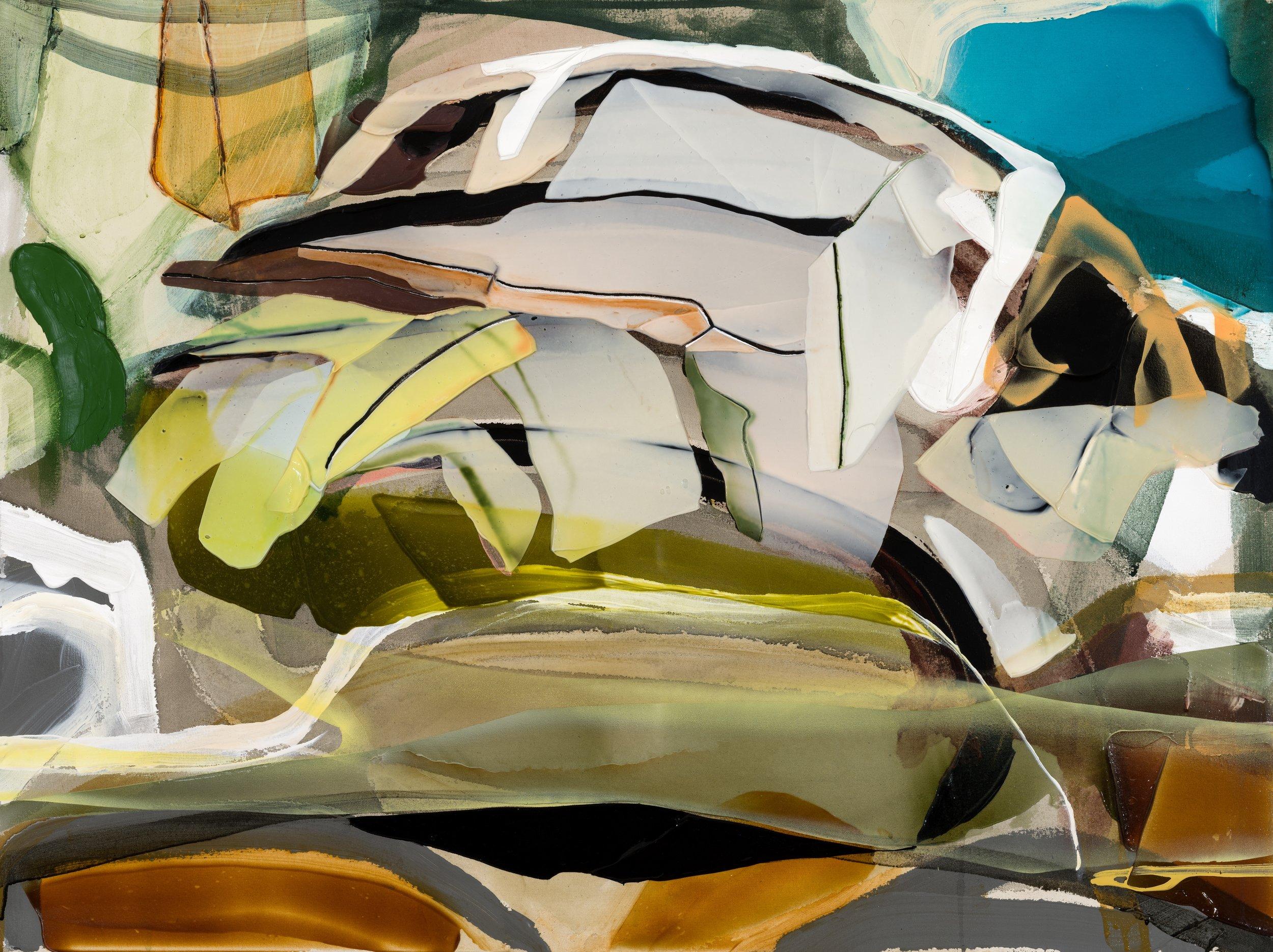 Silencia  2018 acrylique et aérosol sur toile 35'' x 47''