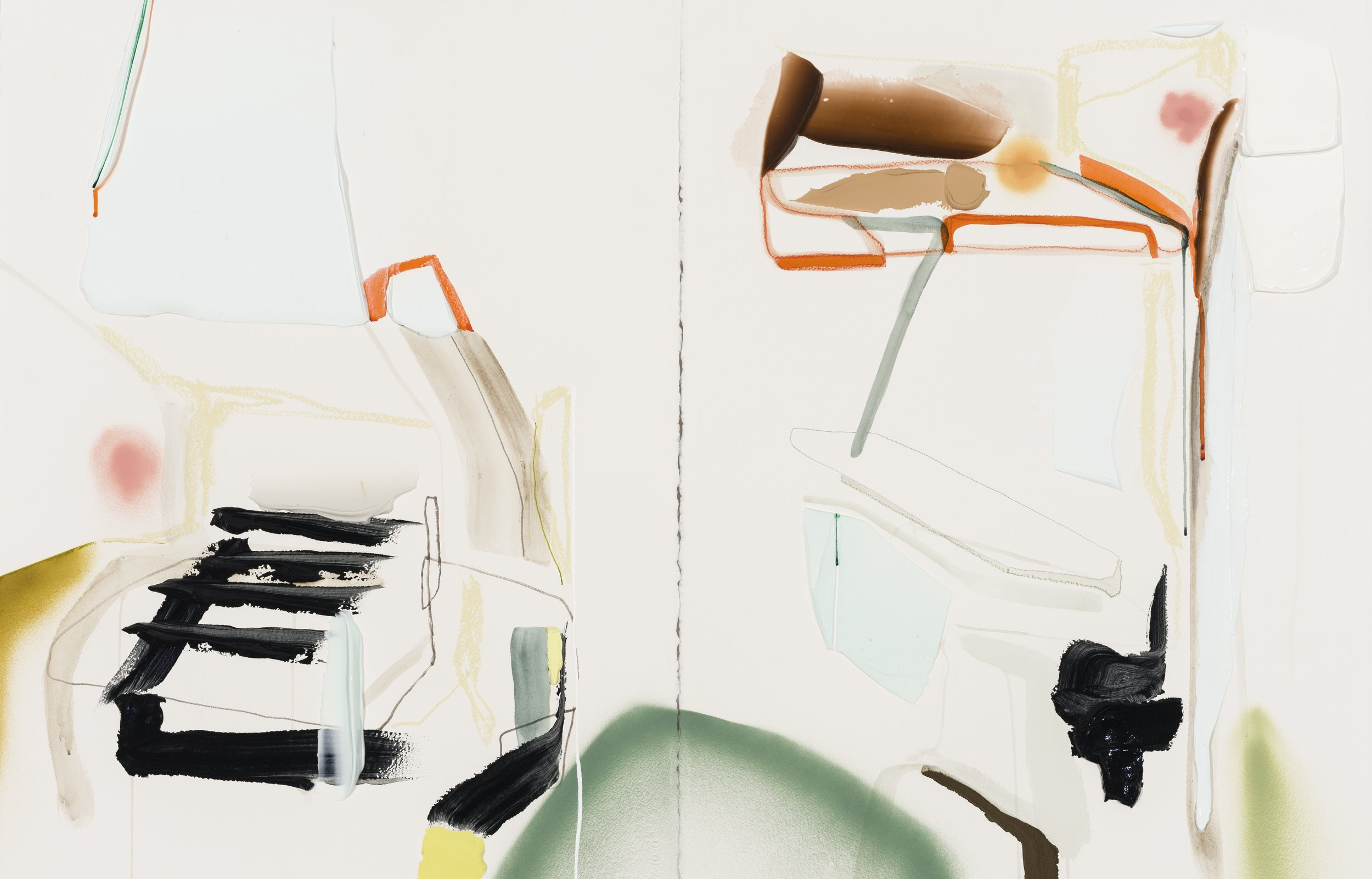 Diptyque: Shed, acrylique, crayons et aérosol sur papier, 22'' x 60'', 2018