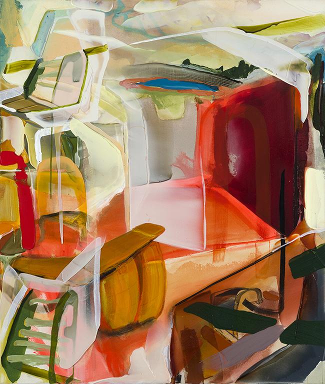 Spanish basement   2018, acrylique et aérosol sur toile 53'' x 45''