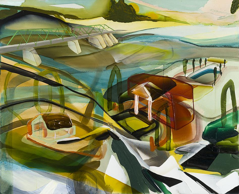 Above the flooded zone    2018  acrylique et aérosol sur toile 57'' x 70''
