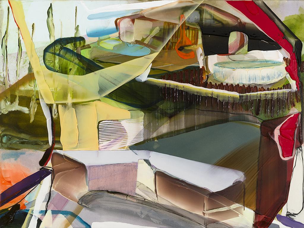 Foreign Domesticity   2018 acrylique et aérosol sur toile. 47'' x  63''