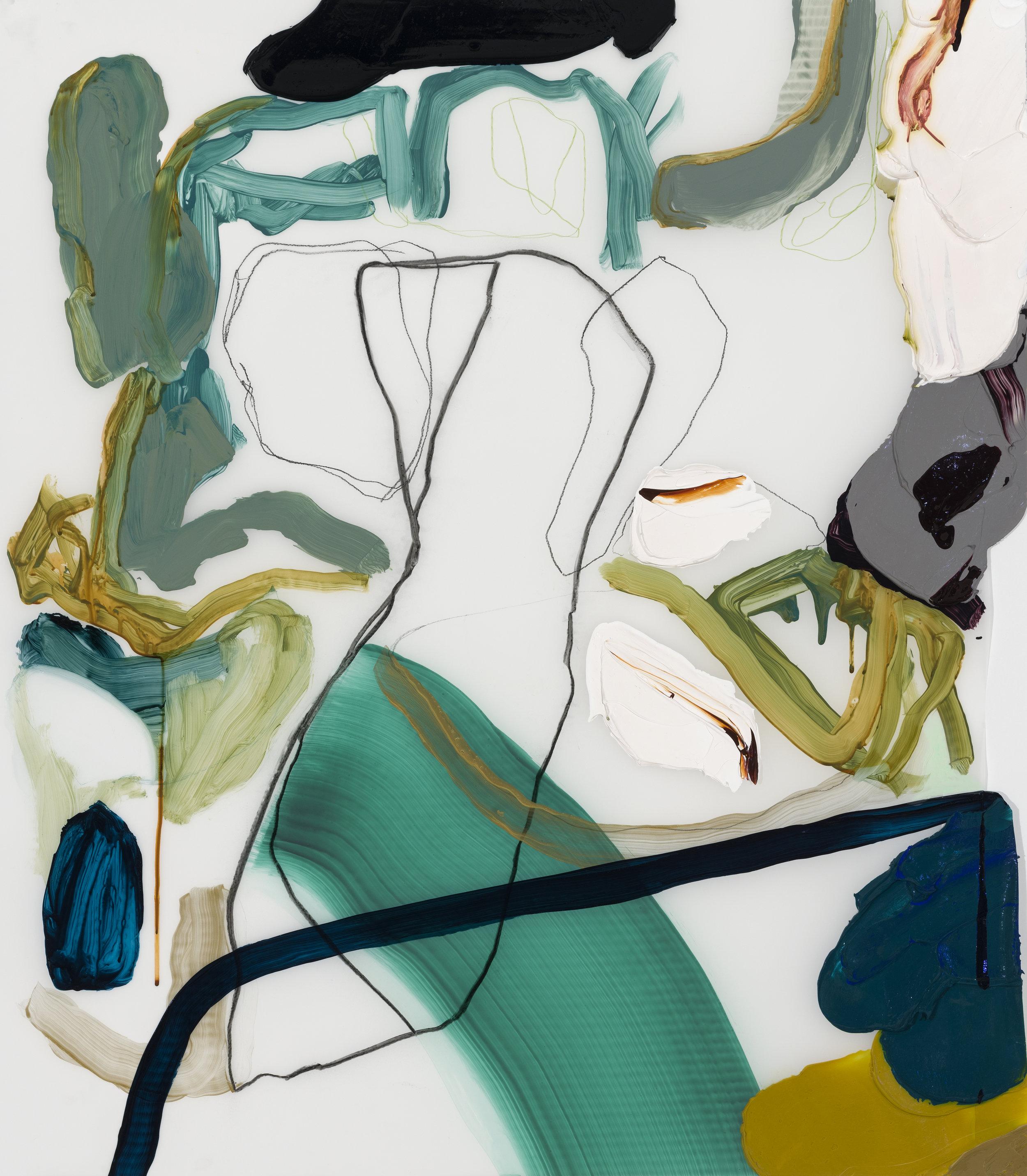 Cap, 2019 acrylique et fusain sur Mylar, 36'' x 26''