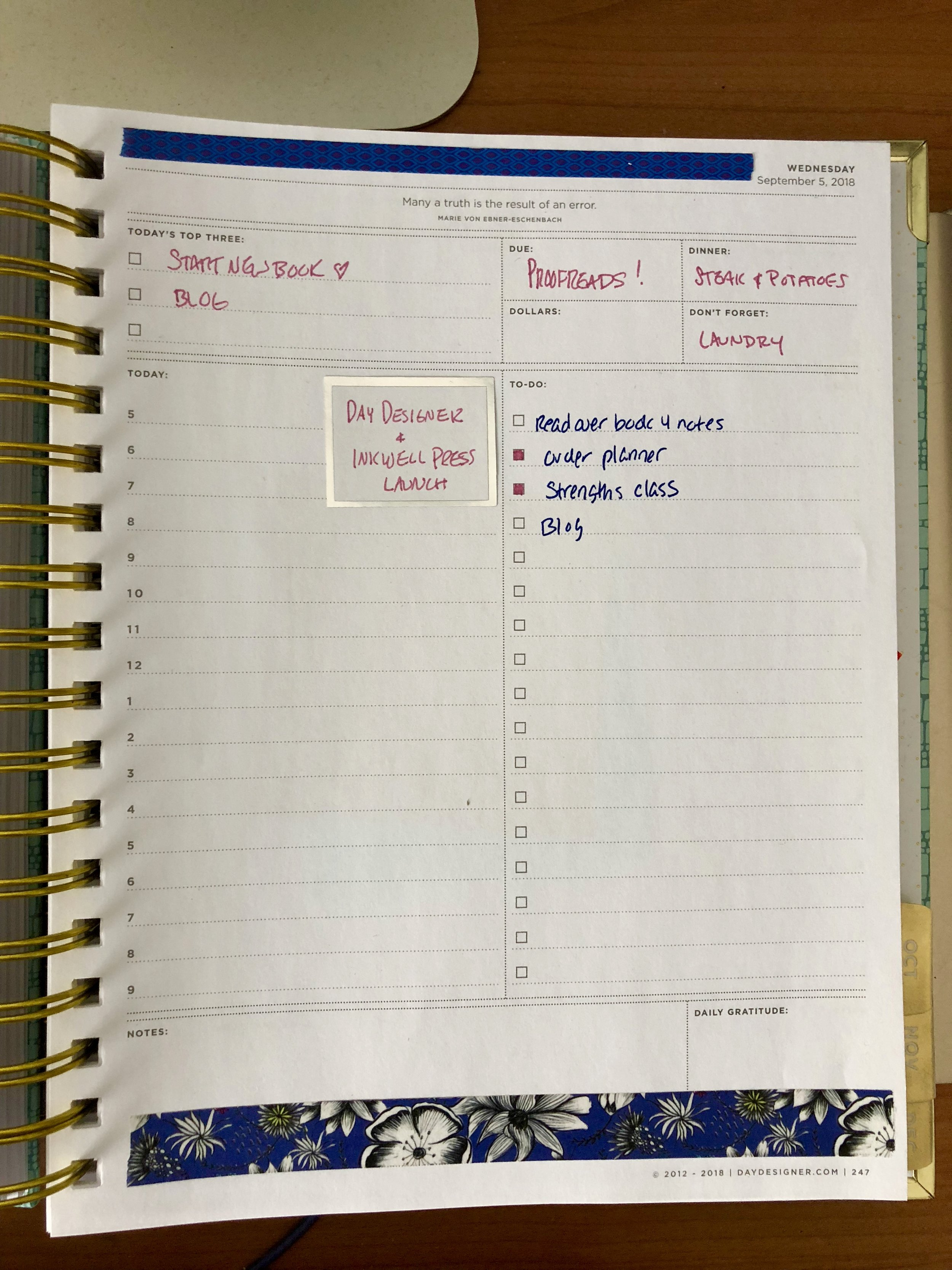 What today looks like in my planner