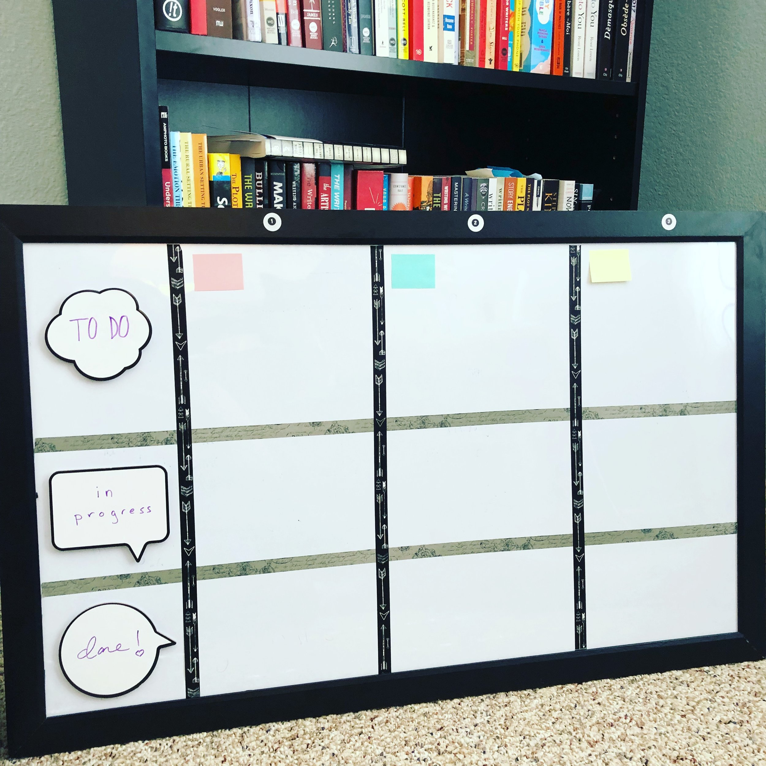 I have this fully filled with post-its now but this is how it looked when I first made it. This is focused strictly on the three main goals of my 90-day plan.