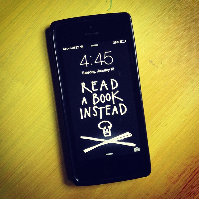 I put a similar background on my phone to remind me what I should be doing instead of picking it up. This one is from  Austin Kleon and you can grab it here.
