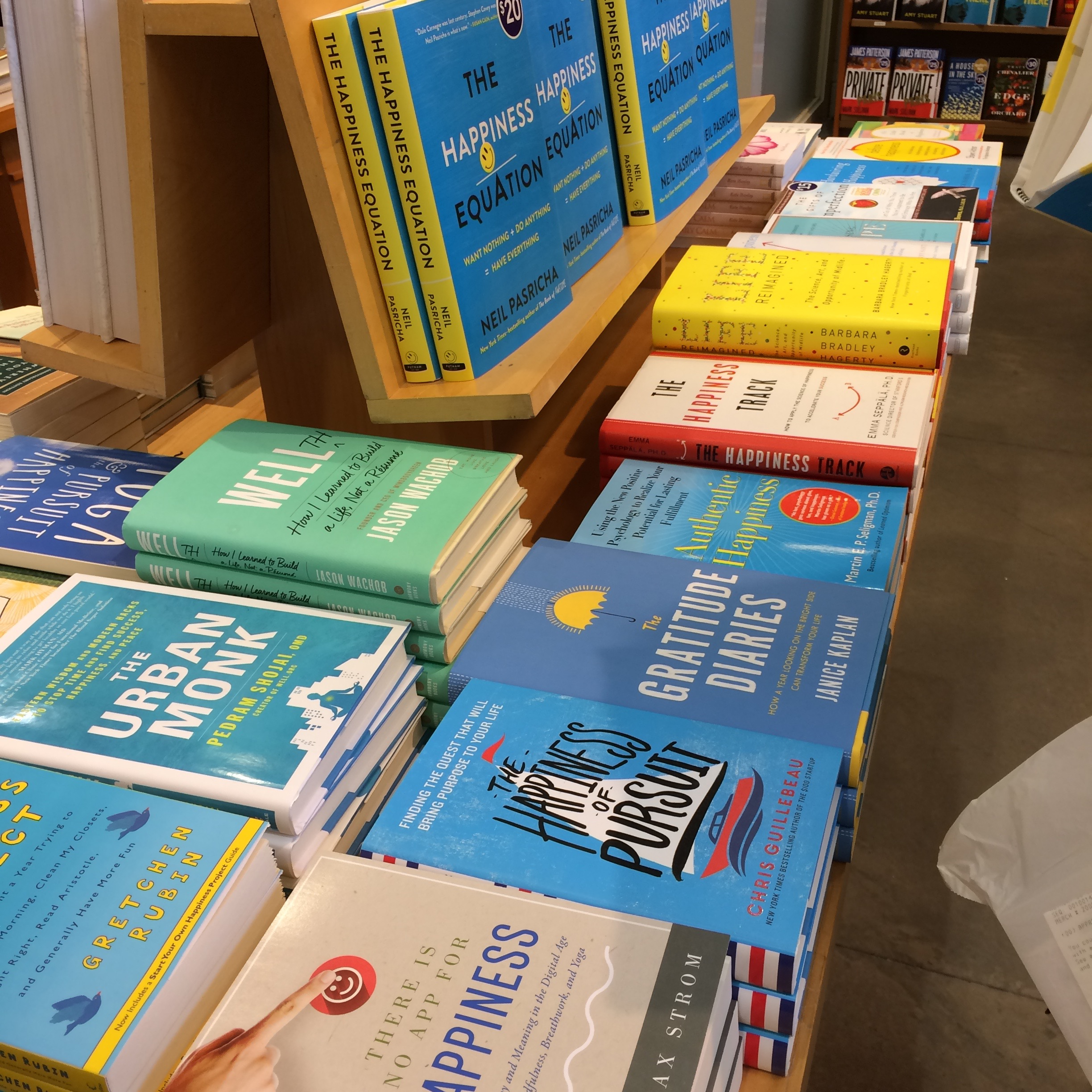 My local bookstore has quite the selection of books on happiness.
