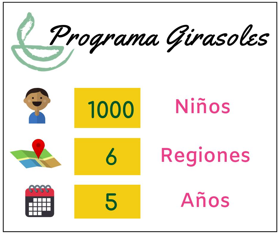Desde 1992, el Programa Girasoles ha beneficiado a más de 1000 niños en estado de abandono de 6 regiones del Perú quienes permanecen un promedio de 5 años en nuestras Casas Hogares. -