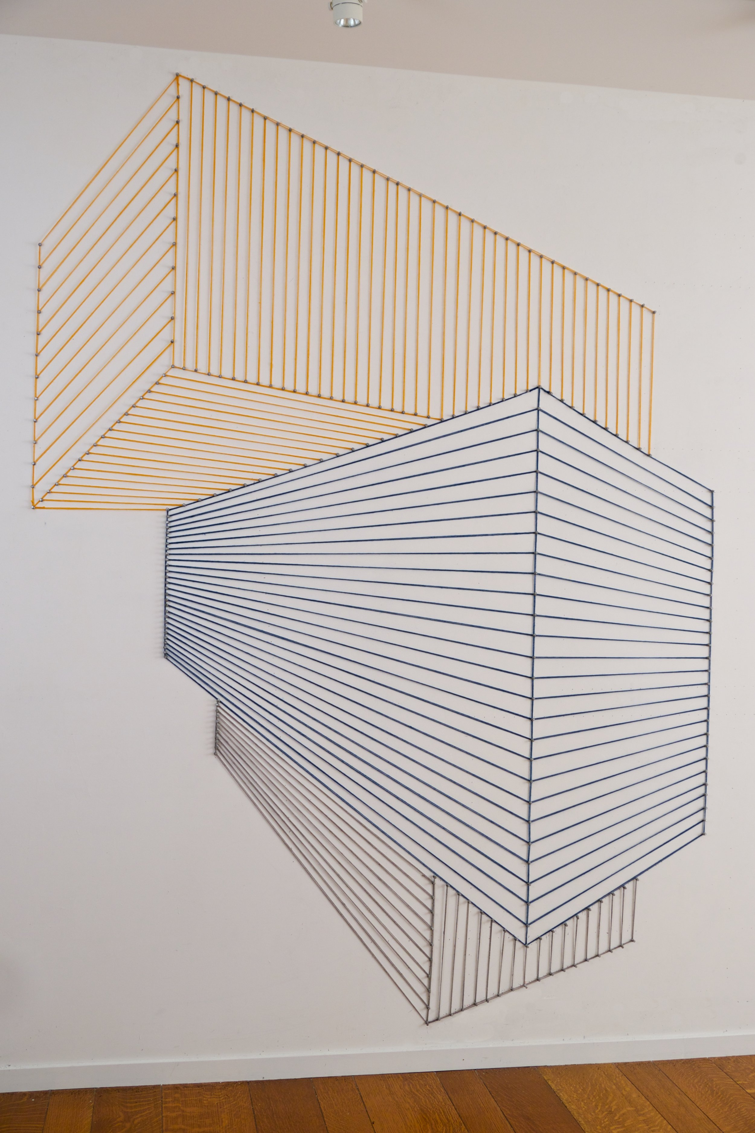 Sabine Reckewell,  Wall Drawing #3 , 2016, yarn, push pins, 87 x 66 inches
