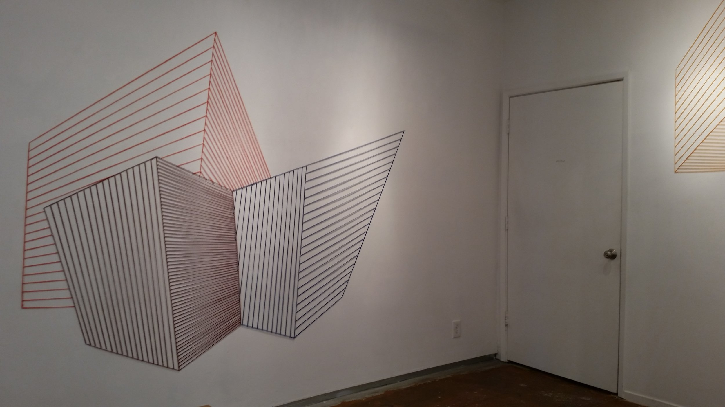 """Sabine Reckewell, """"Wall Drawing #5,"""" 2016 bright orange, dark red and blue wool yarn, nails, 73 x 90 inches"""