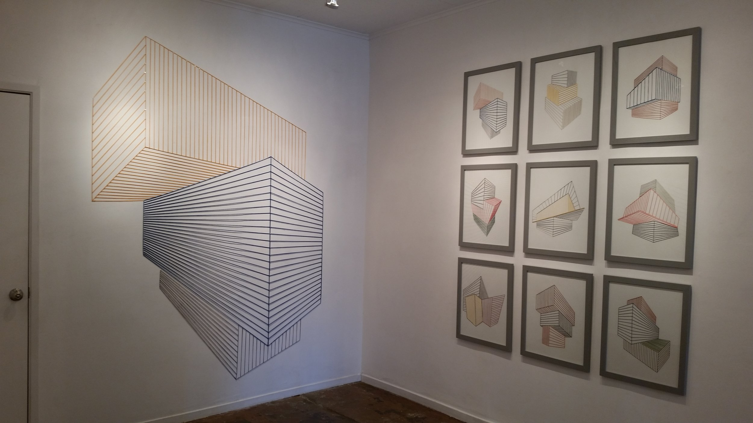 """Sabine Reckewell, (on left), """"Wall Drawing #3,"""" 2016 yellow, blue and grey wool yarn, nails 87 x 66 inches"""