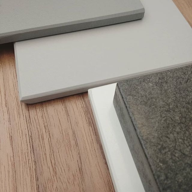 Kitchen planning in progress.  Did we say we love this material palette?