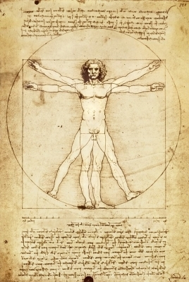 Vitruvian Man by Leonardo da Vinci,  1490 a.d.