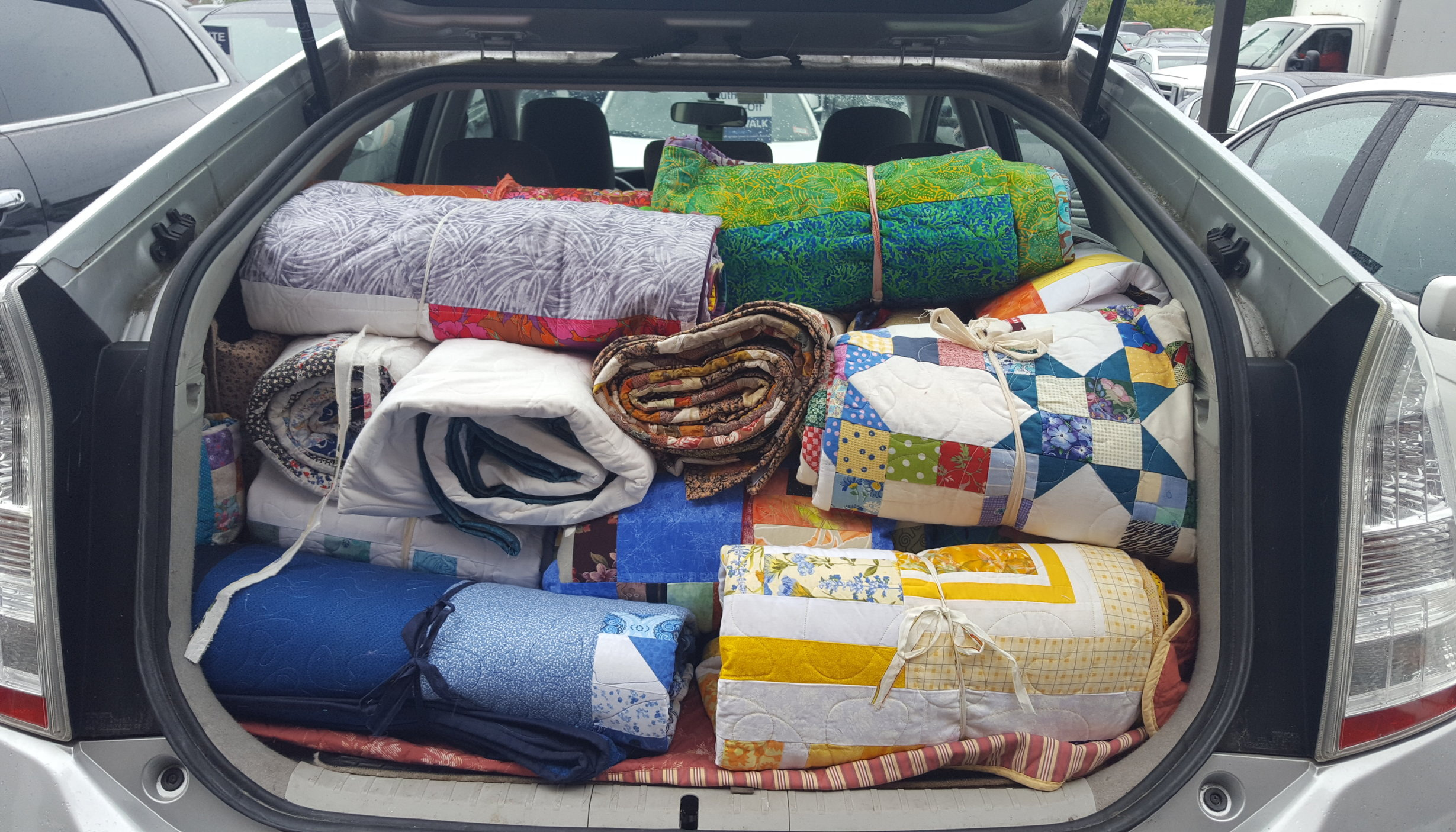 A trunk full of Comfort Quilts, made by the Brooklyn Quilters Guild, ready for delivery to Massachusetts gas explosion victims in September 2018 where more than 80 homes were destroyed.