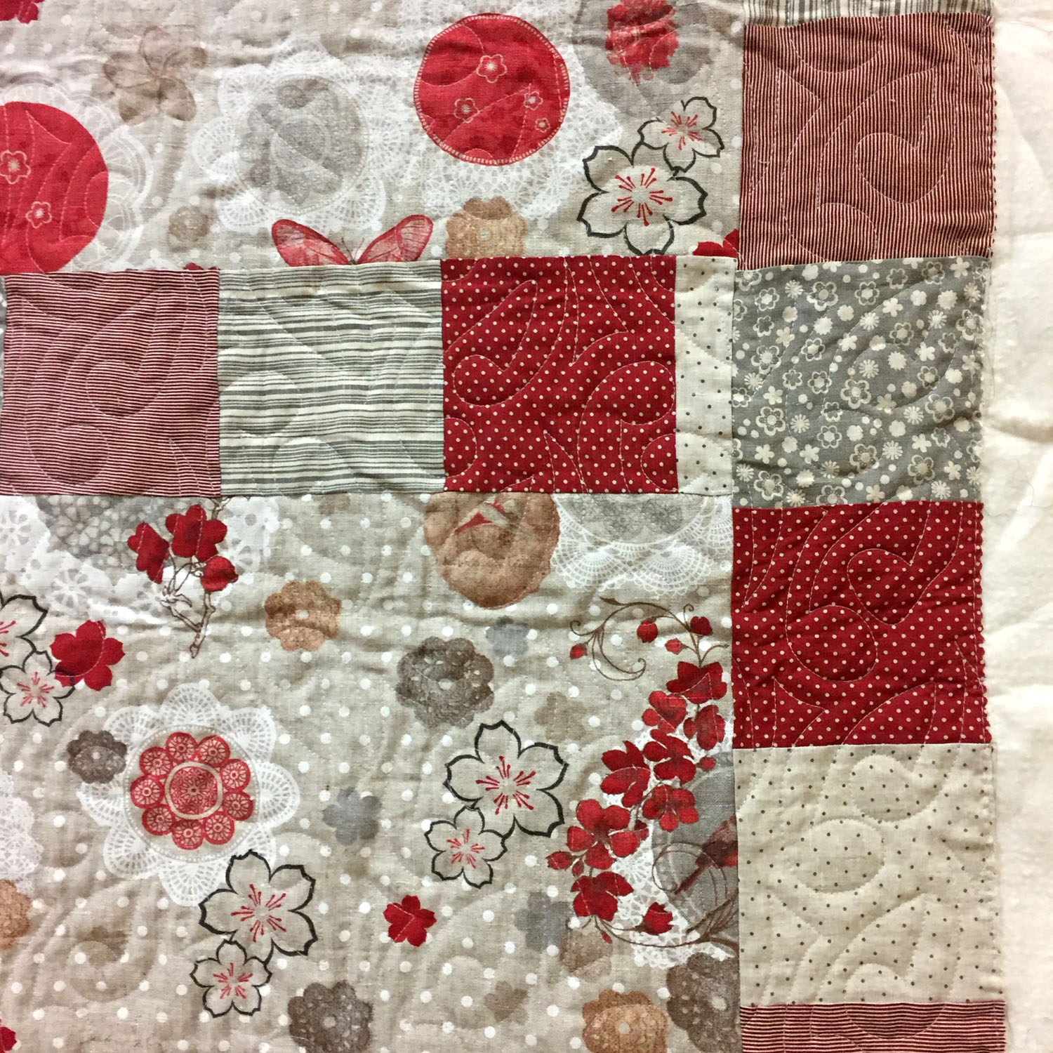Copy of Copy of French linen quilt detail. By Susan Sato