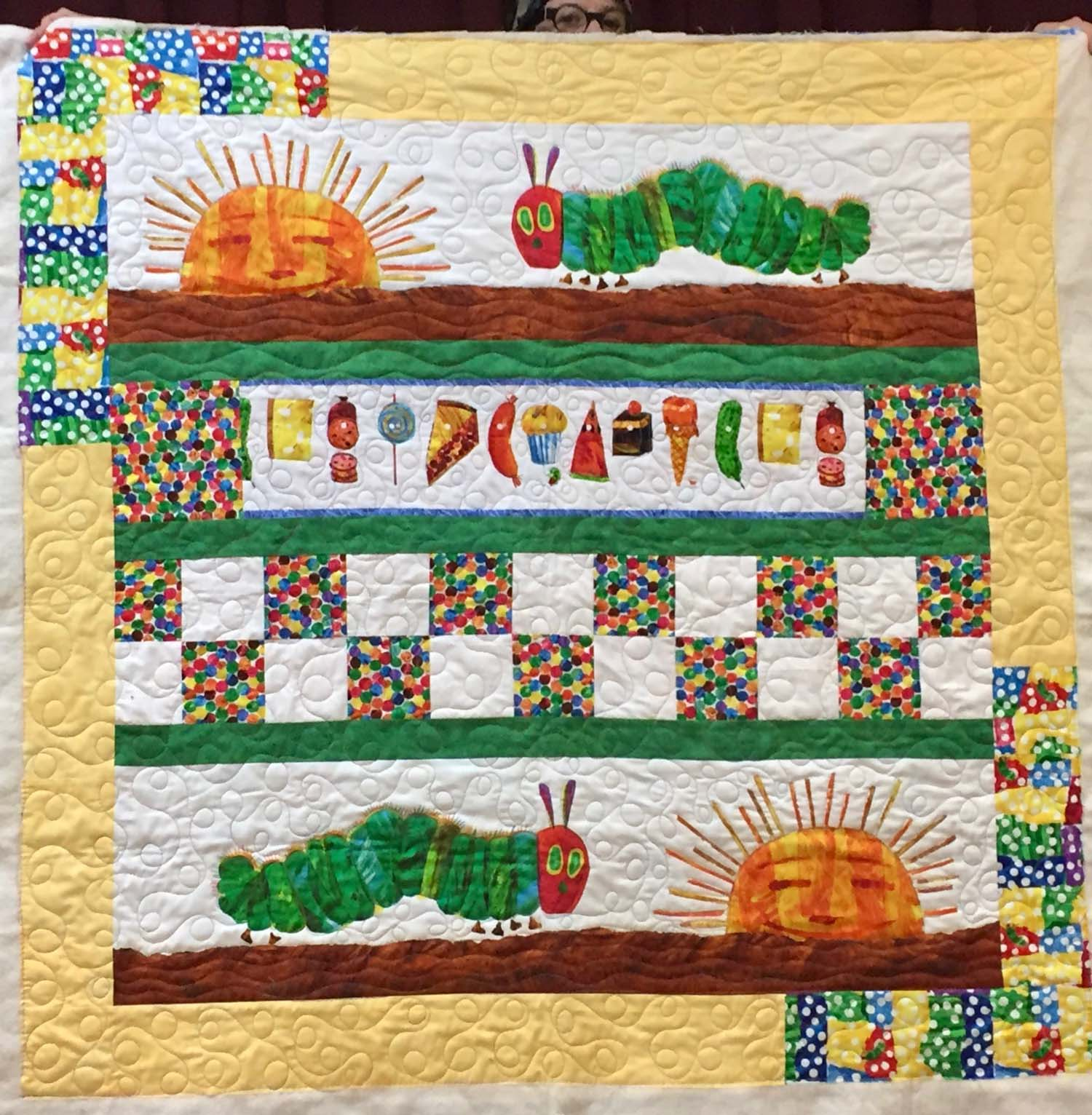 Hungry Caterpillar quilt front by Kathy O'Leary