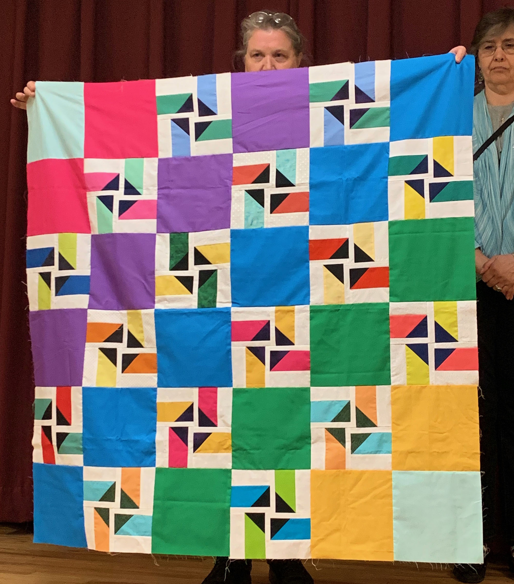 September's BOM blocks in a finished quilt top, by Debbie Breckenridge