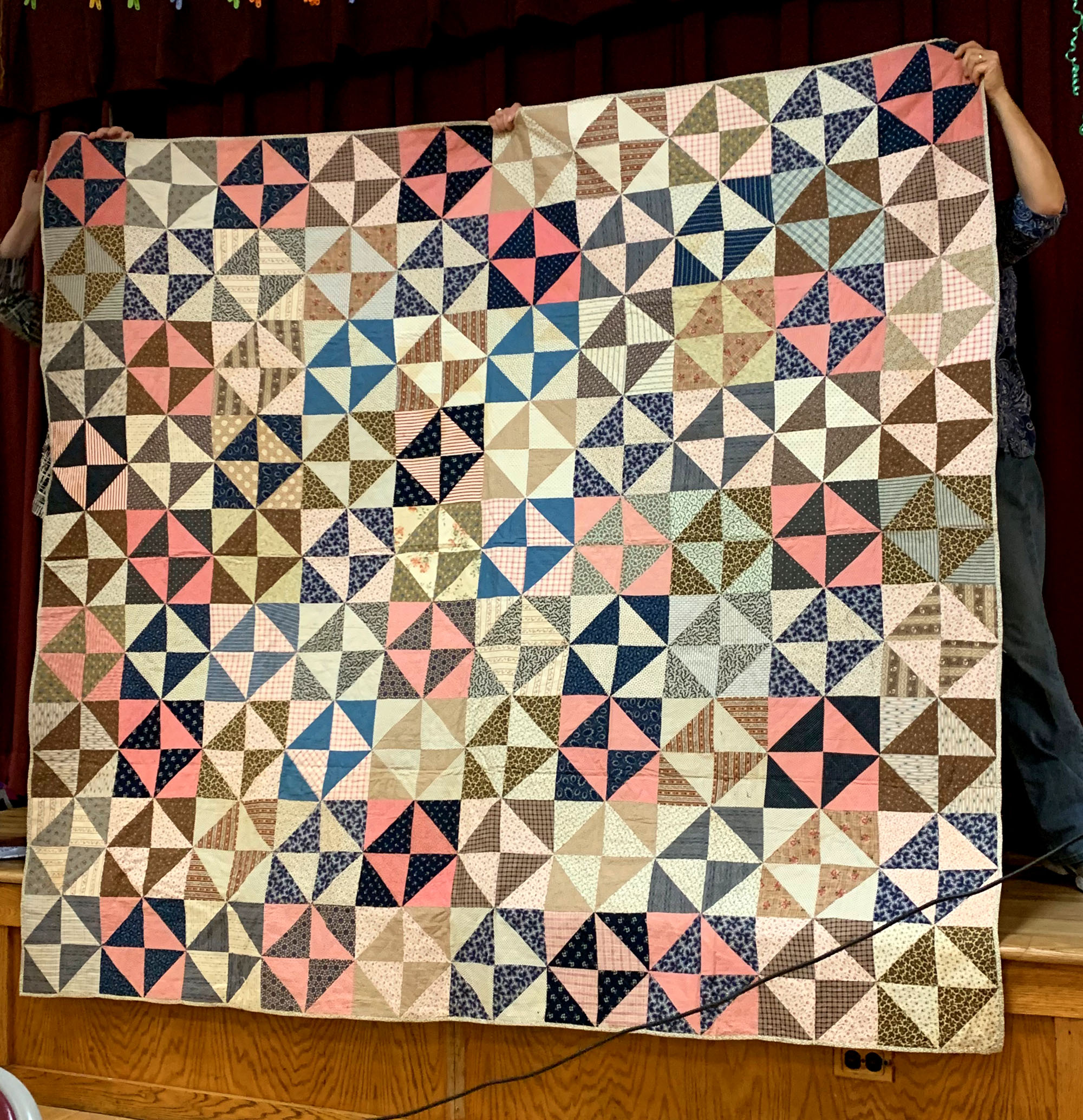 Broken Dishes, historic quilt, shown by Grace Bighouse