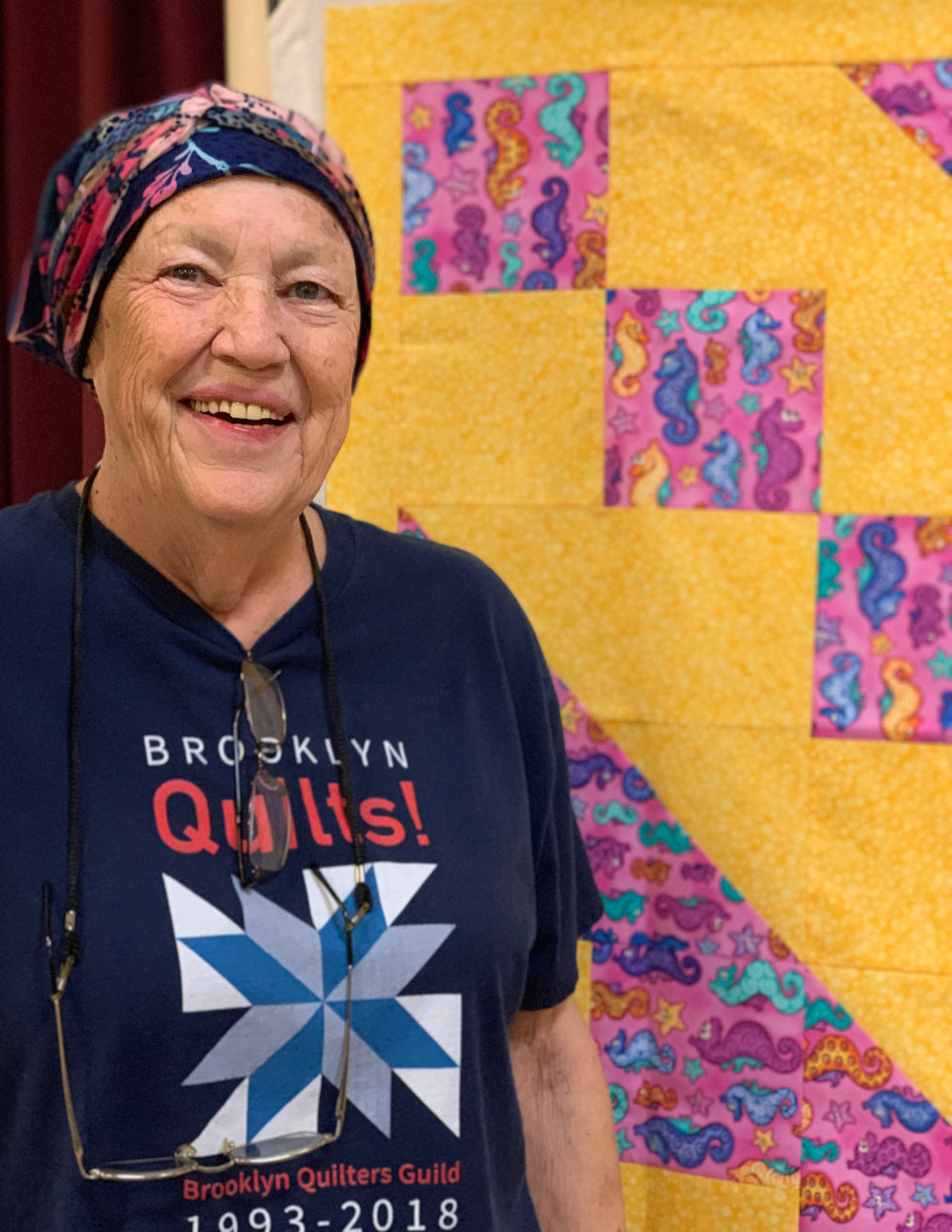 Sarah Vinson, our May workshop leader: Upsizing a quilt block into a quilt