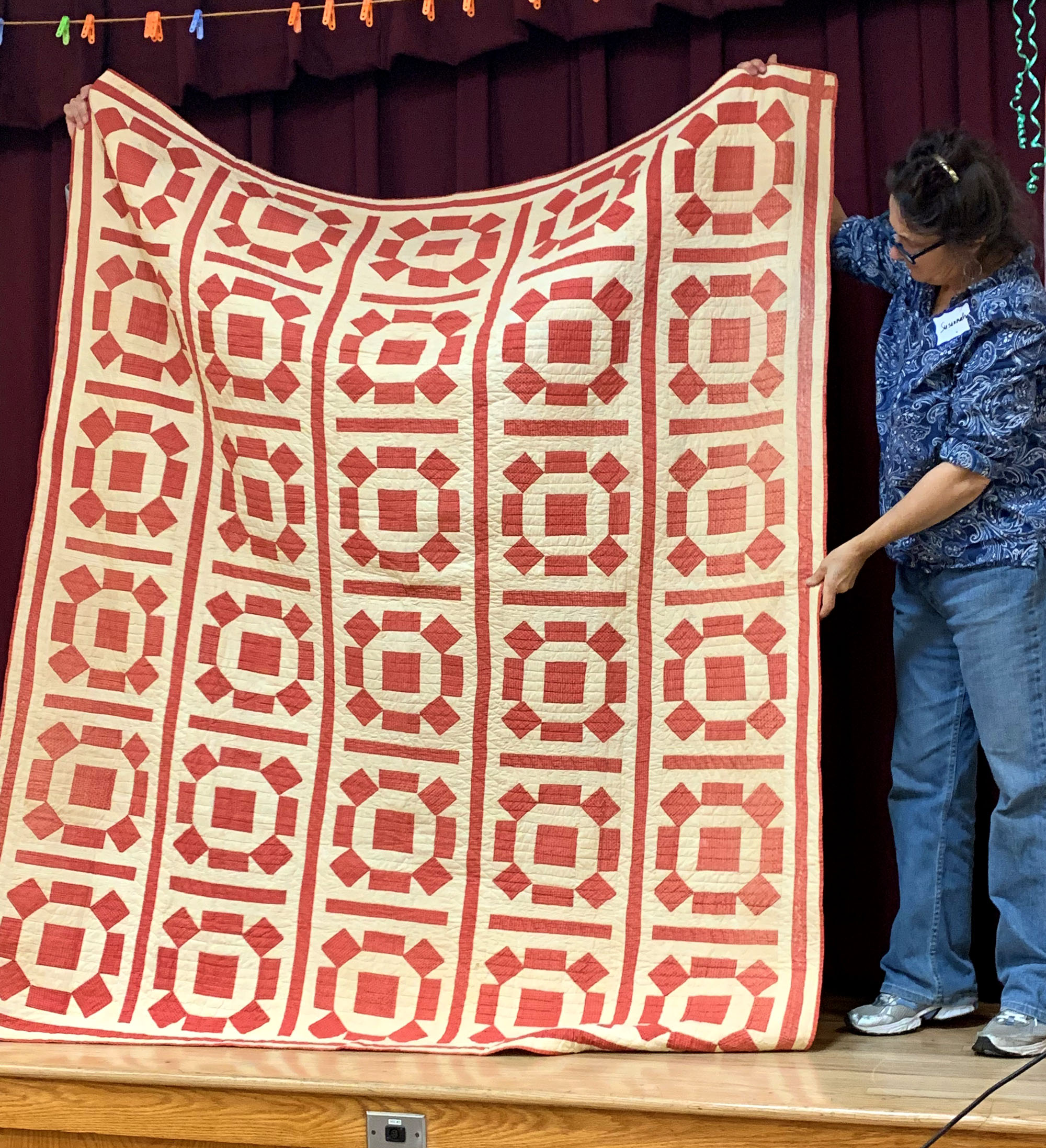Red & Whire Sunburst, historic quilt, shown by Grace Bighouse